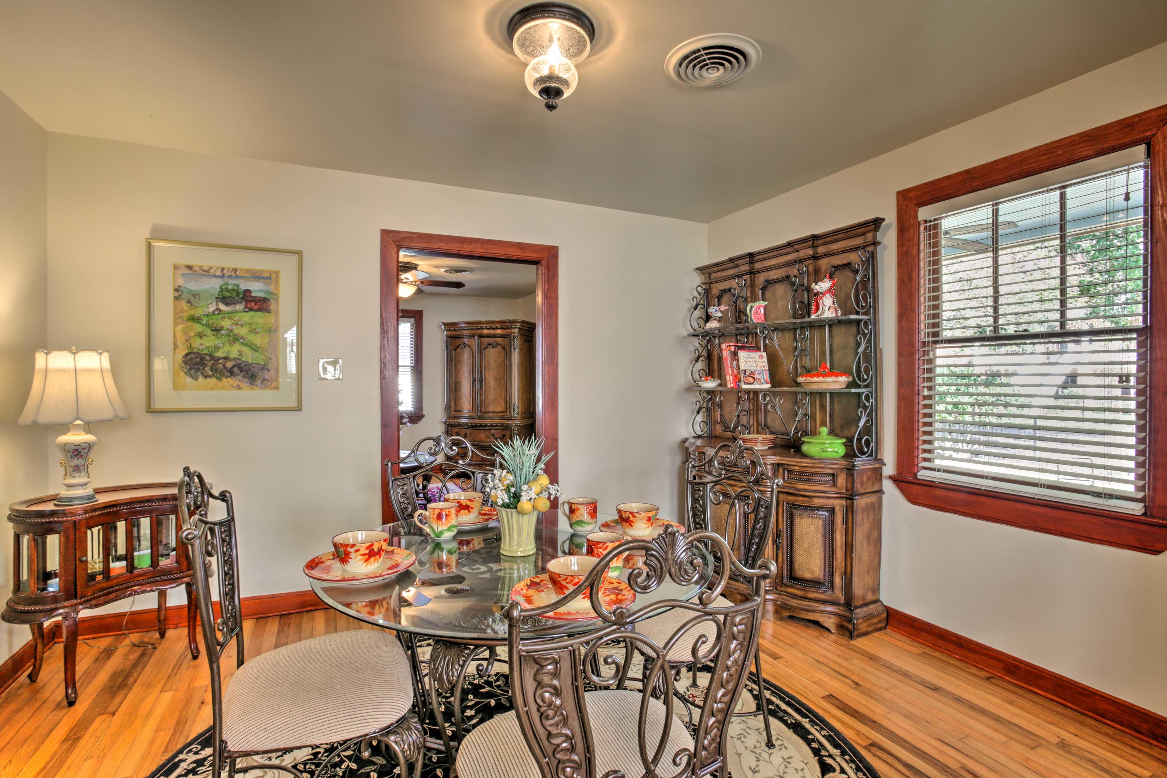 Serve dinner in the elegant dining space set for 4!