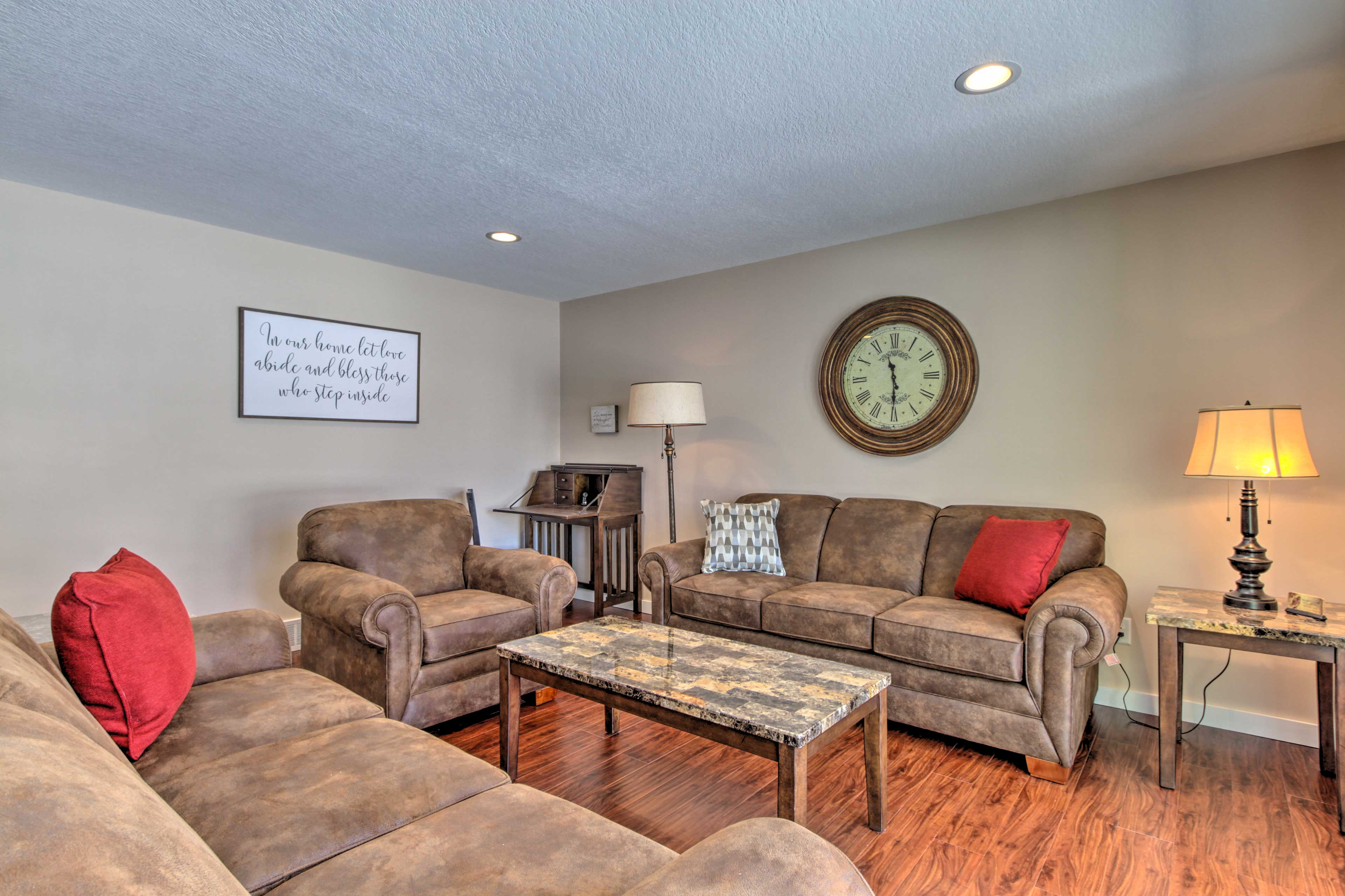 Cozy up with a good book in the family room by the entry.