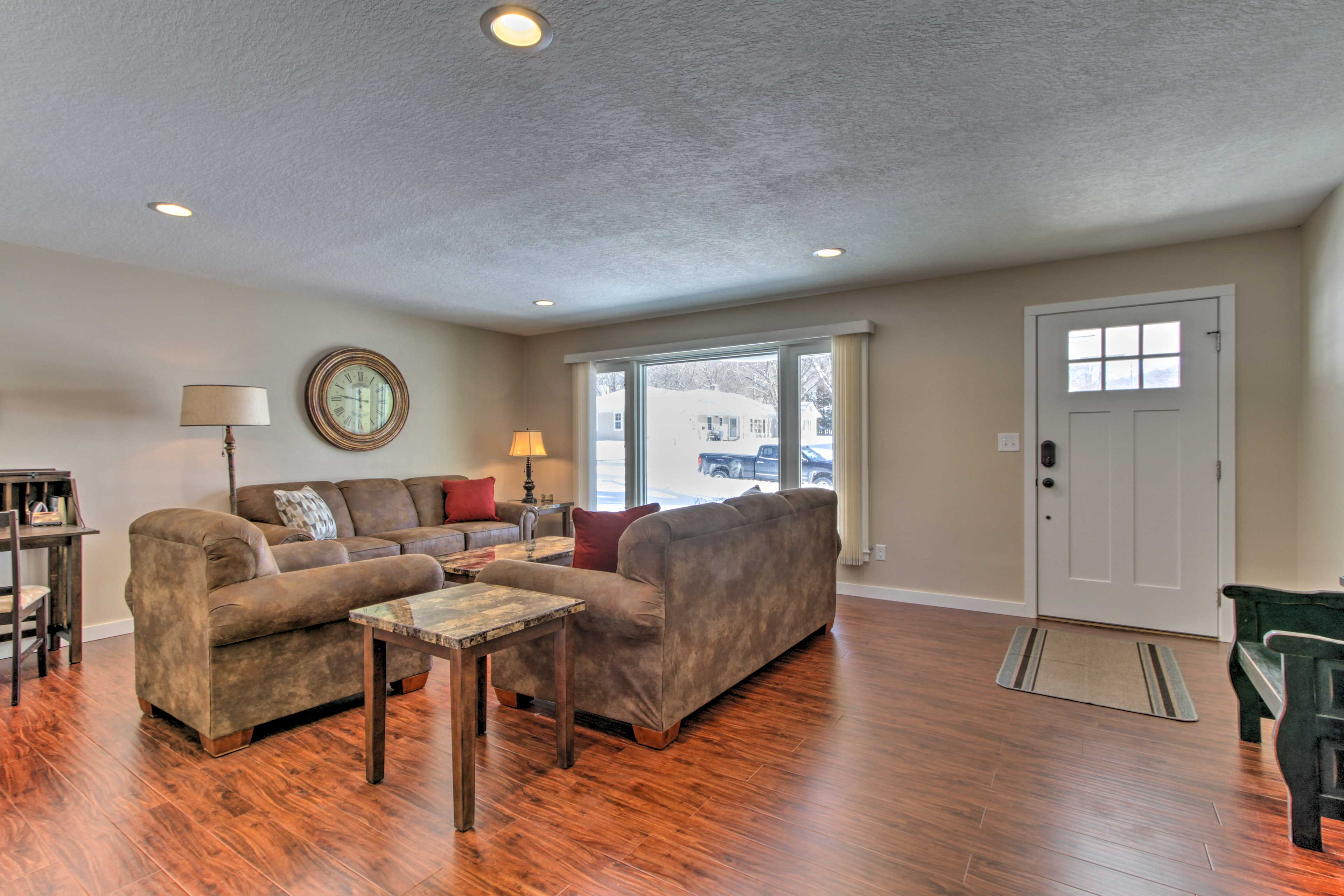 A plush furniture set fills the family room.