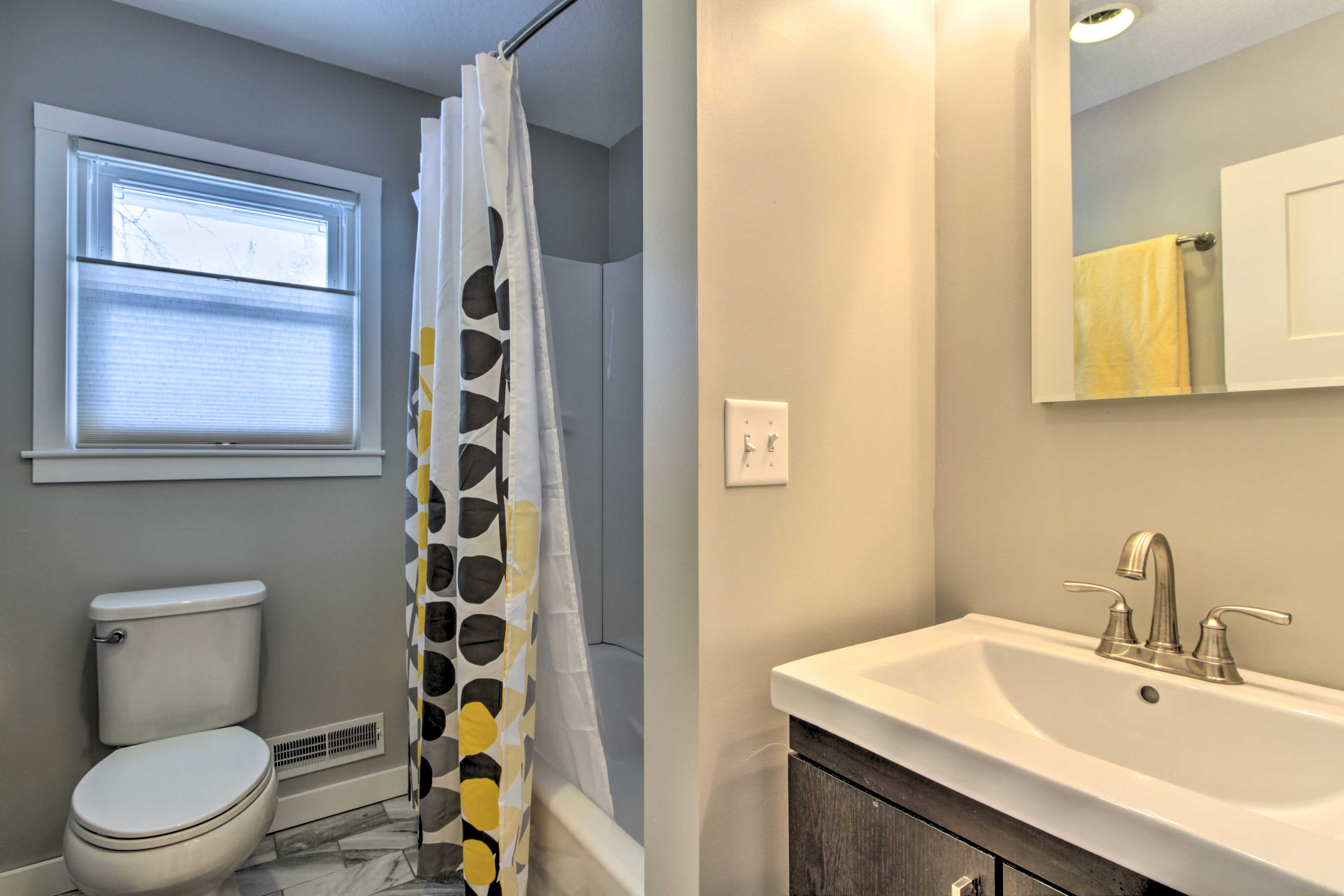 Rinse off with the shower/tub combo.