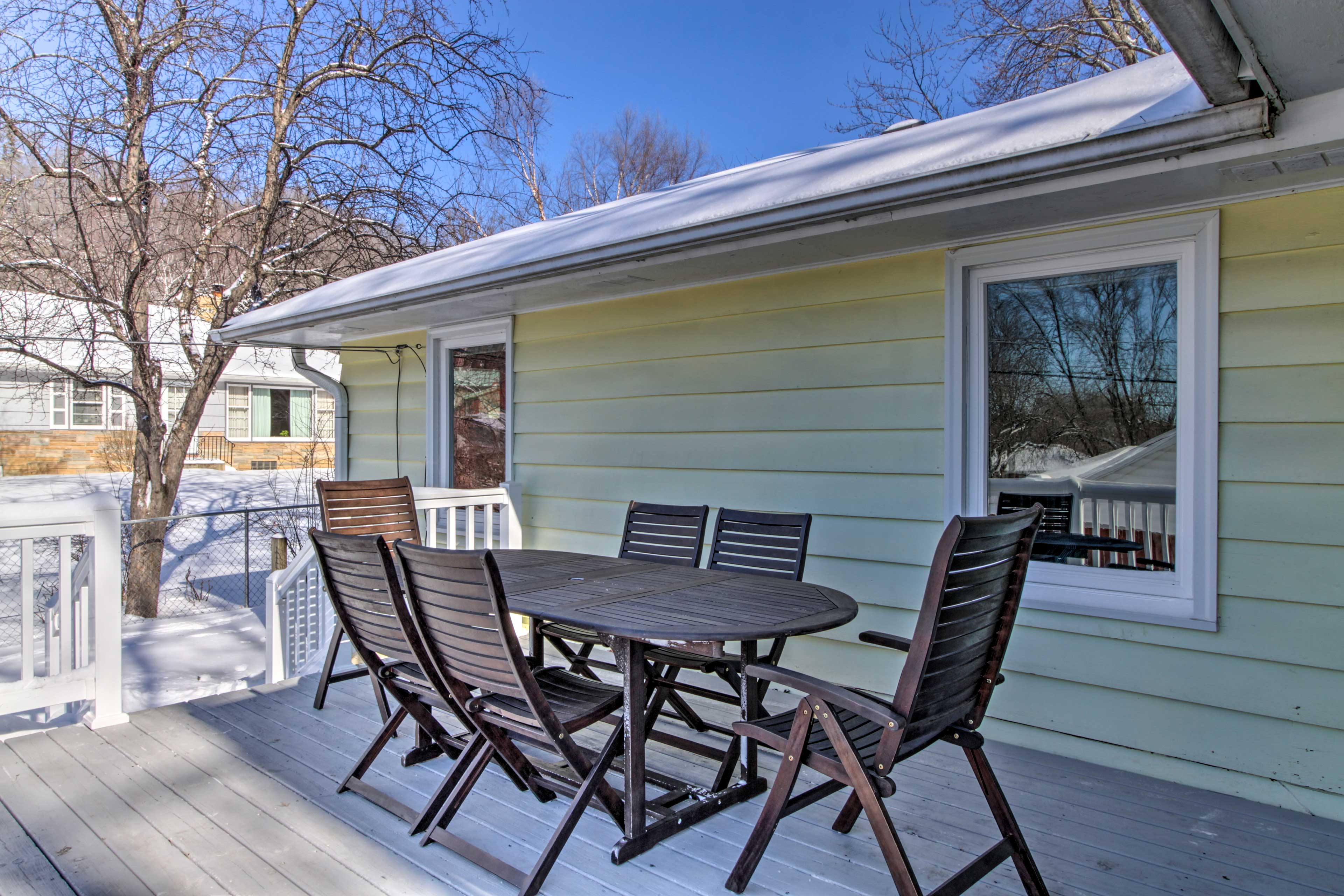 Enjoy the quiet neighborhood surroundings from your private deck.