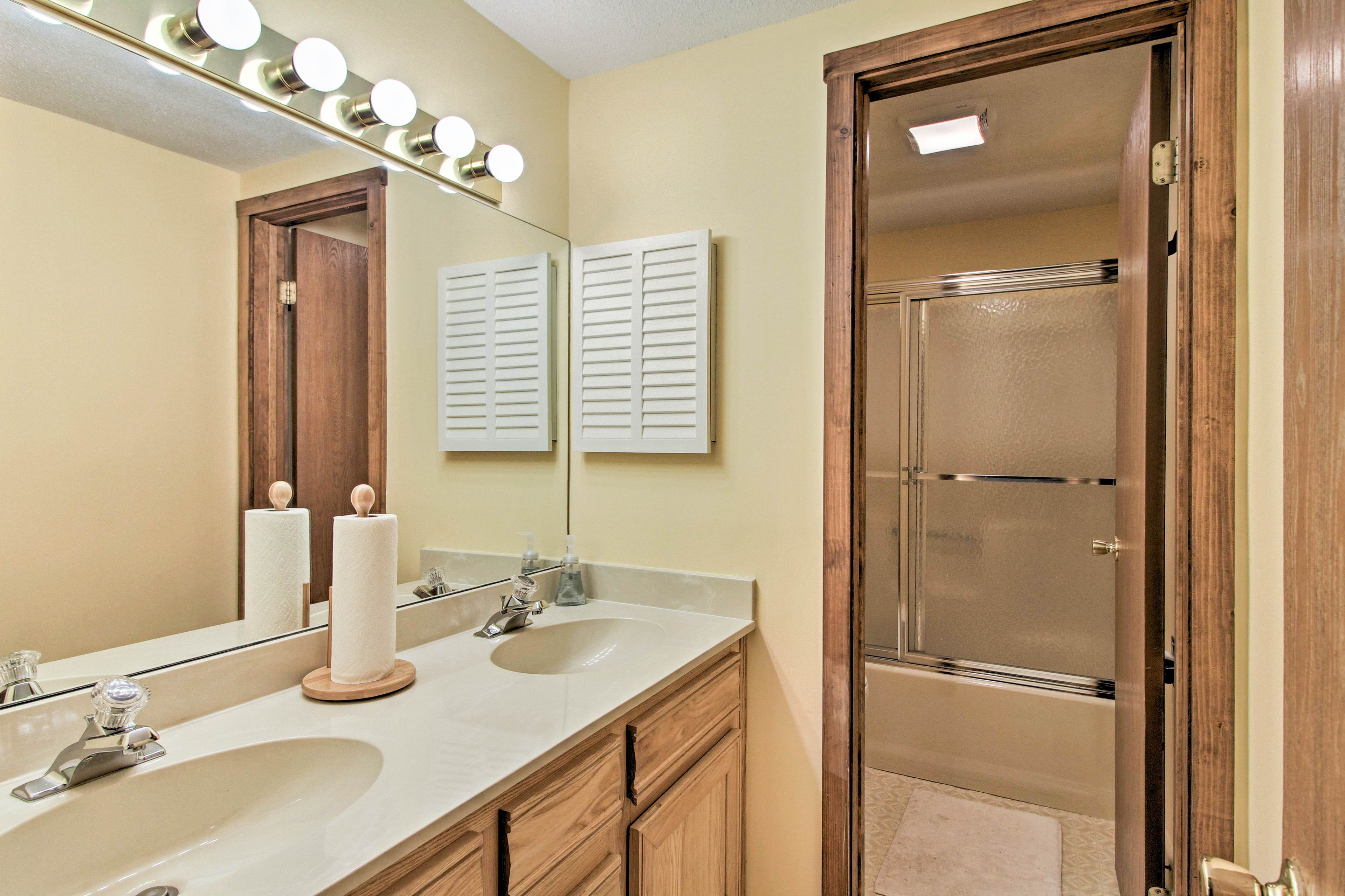 The double vanity and separate shower make it easy to get ready!