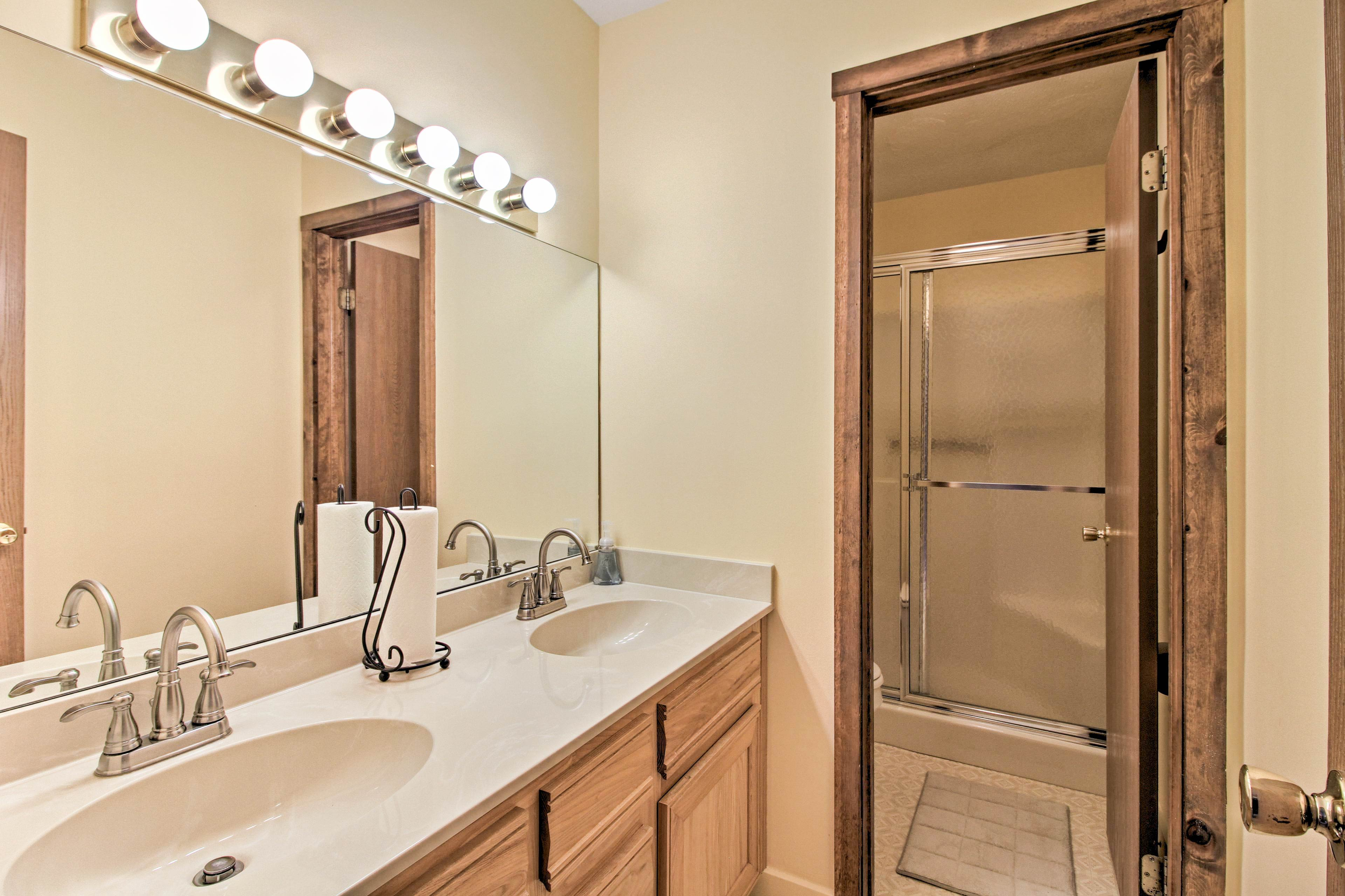 This spacious bathroom is easy to get ready in!