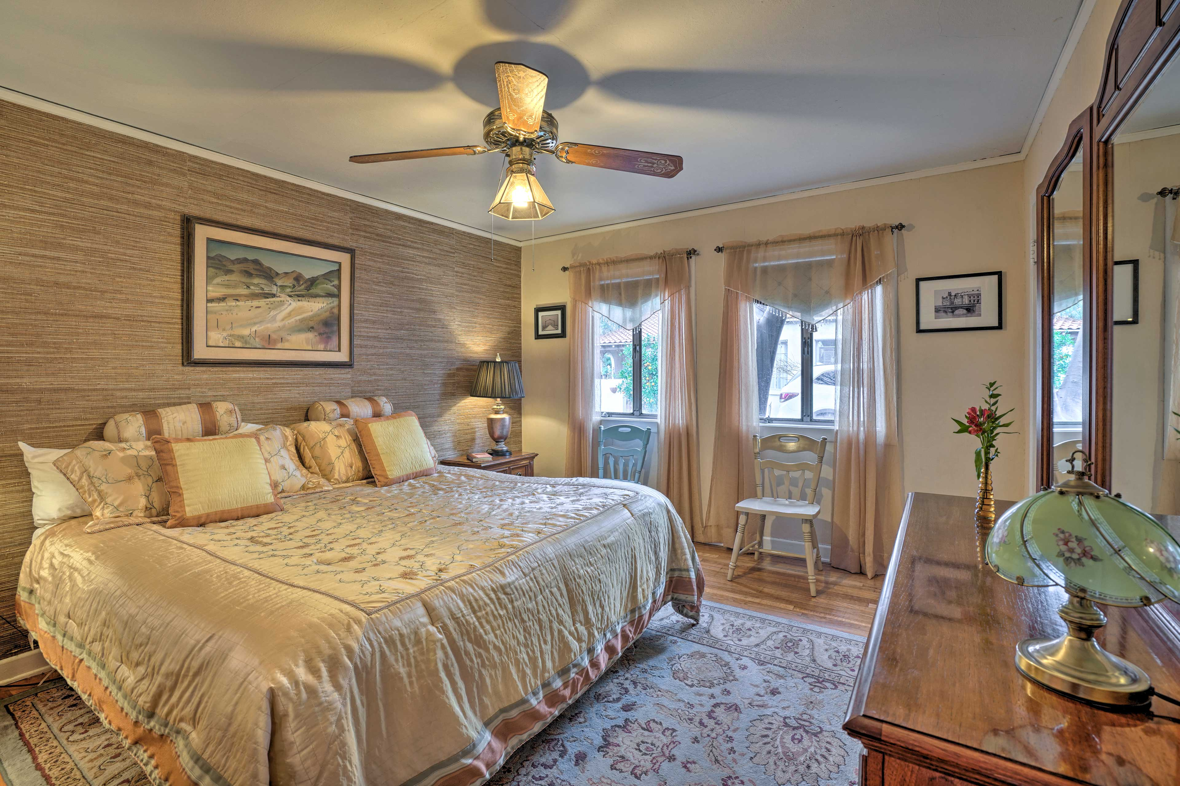 Curl up in the king bed that highlights the master bedroom.