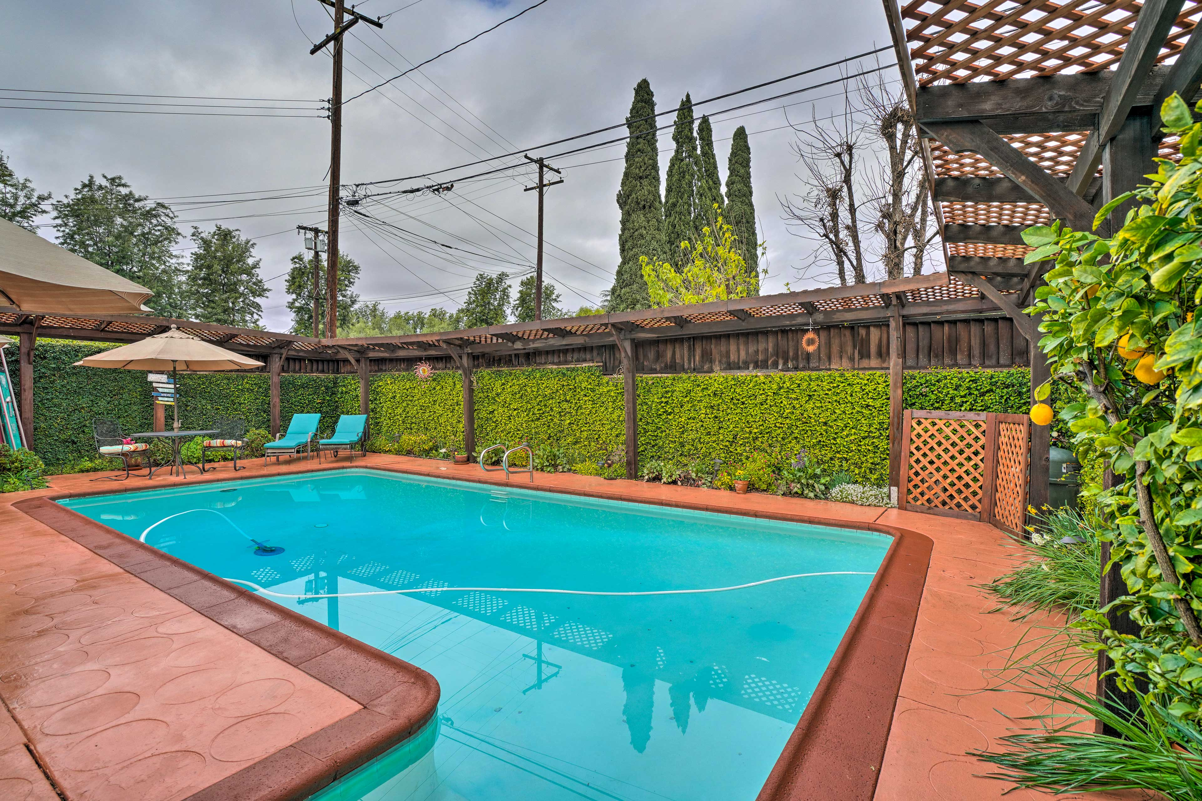 The fenced-in area offers plenty of privacy.