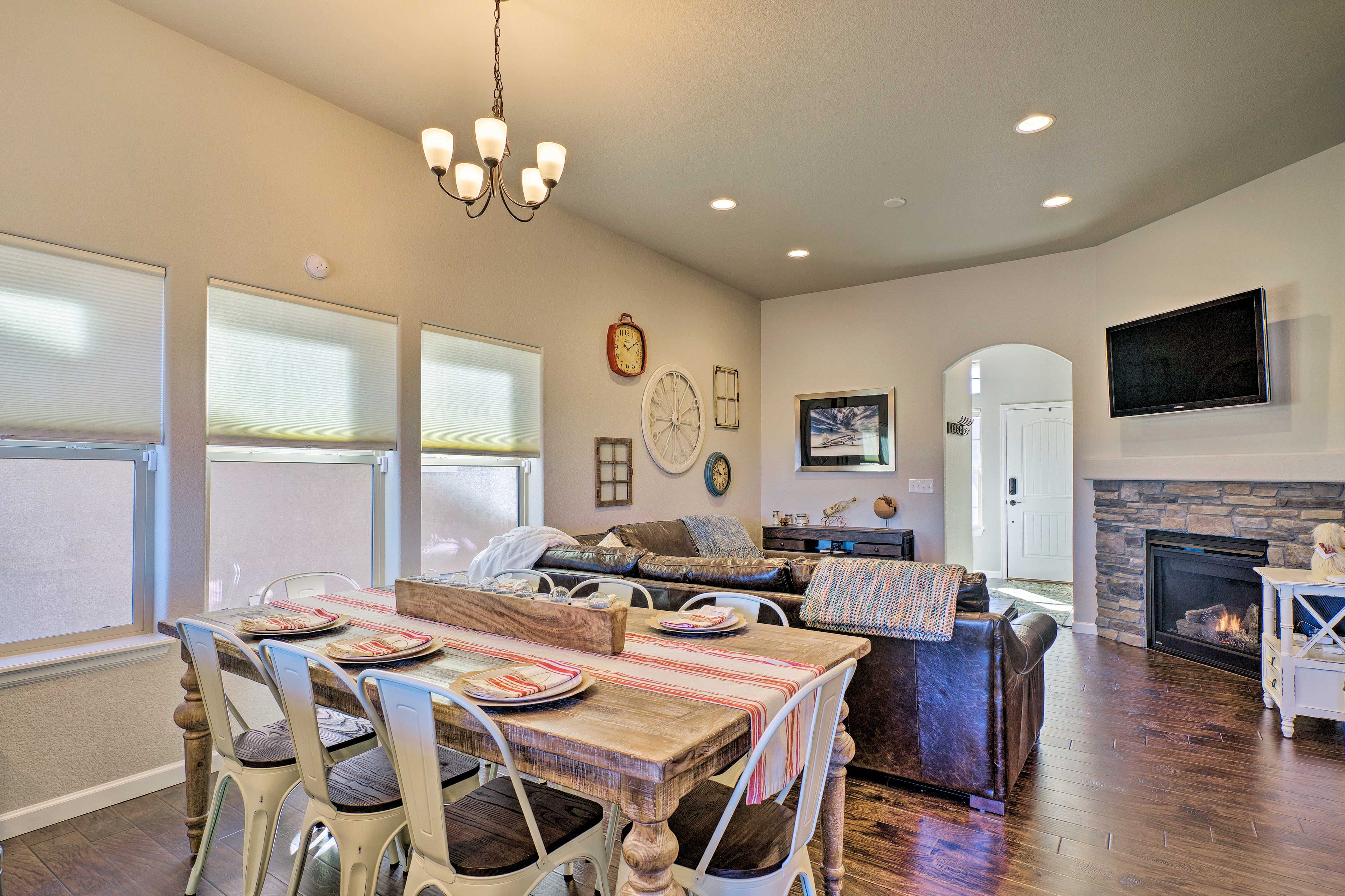 The open-concept space flows right into the dining and kitchen areas.
