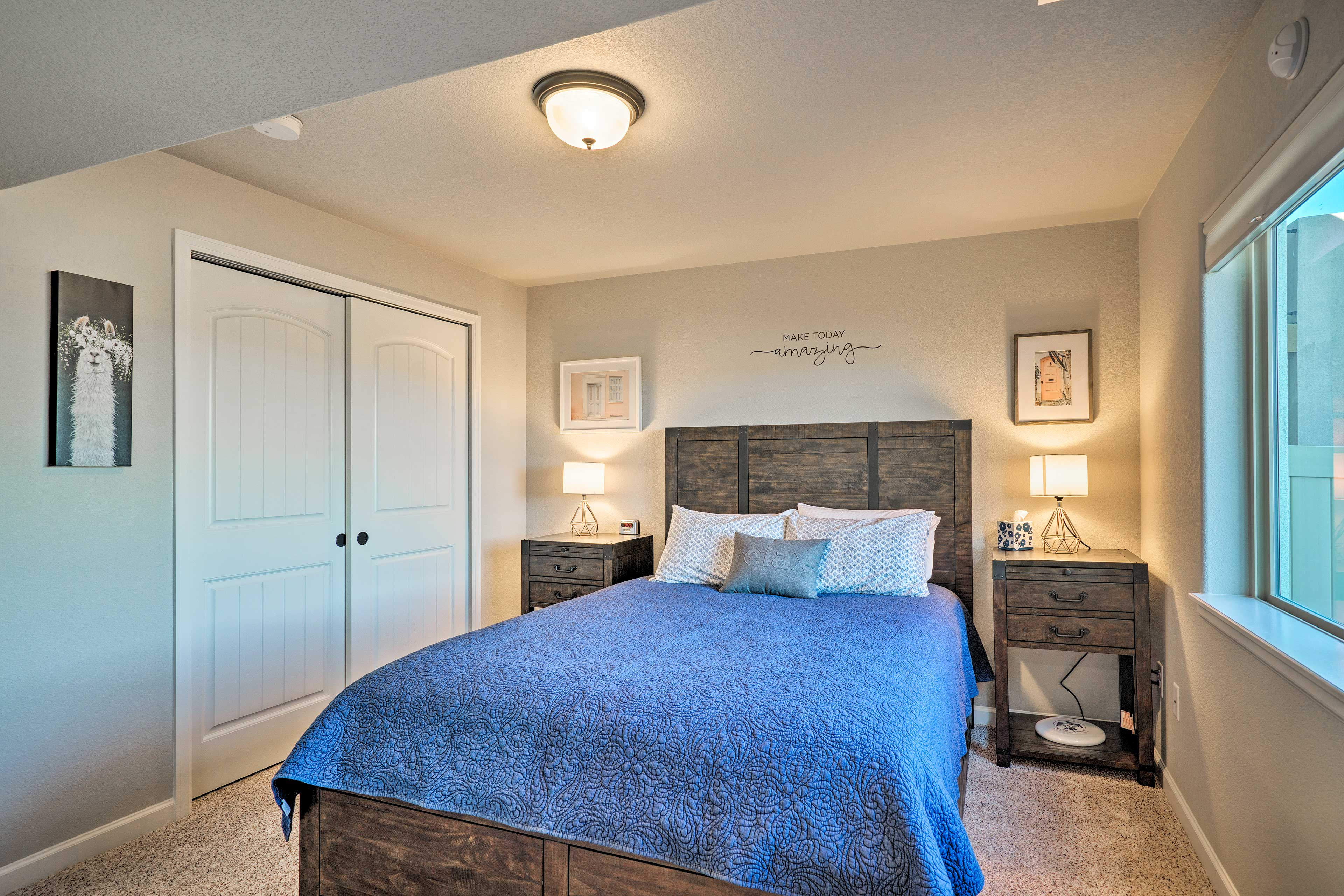 Two guests can curl up under the covers of the queen-sized bed.
