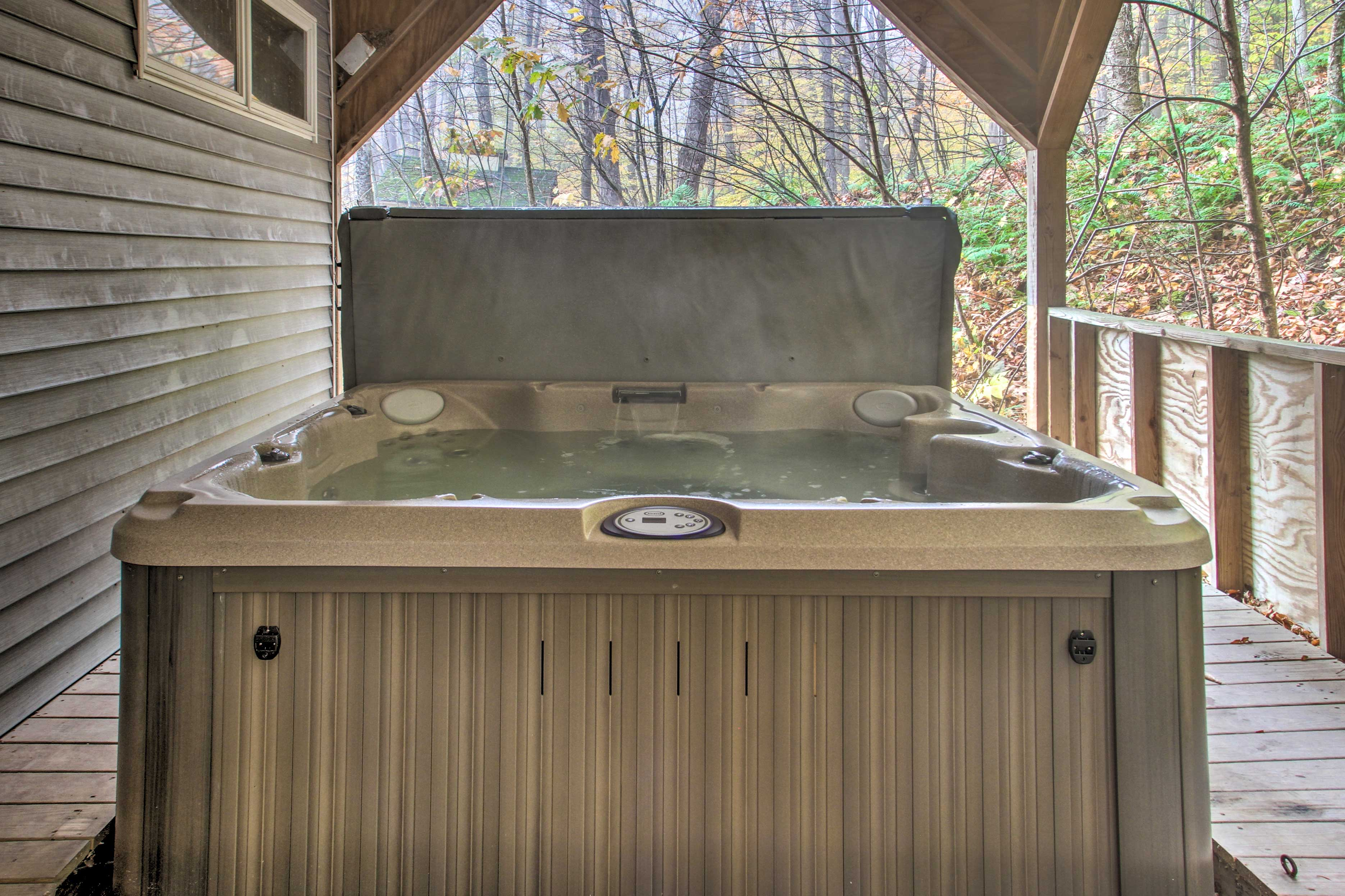 Step outside and go for a dip in the hot tub.