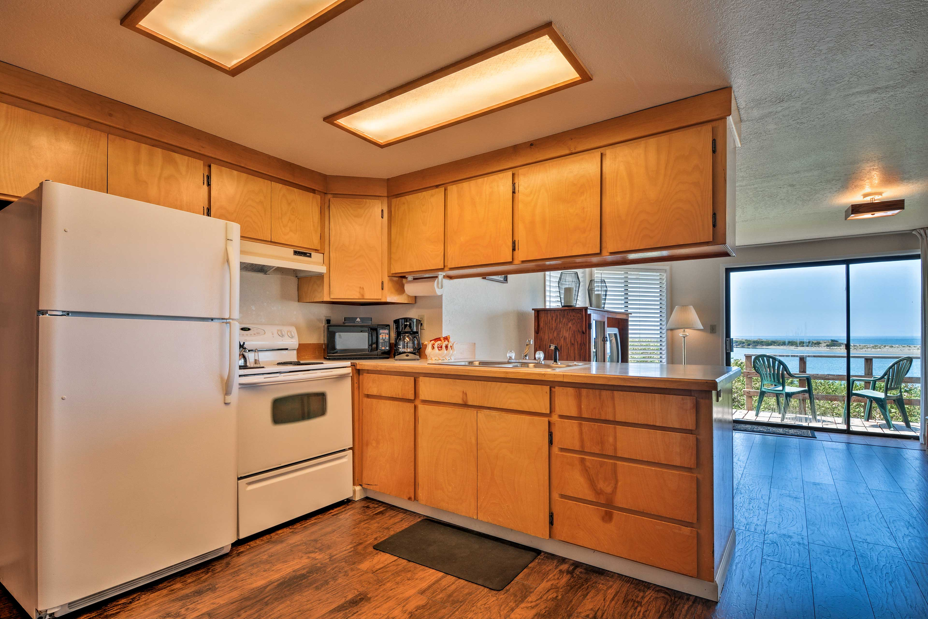 The fully equipped kitchen is spacious and convenient.