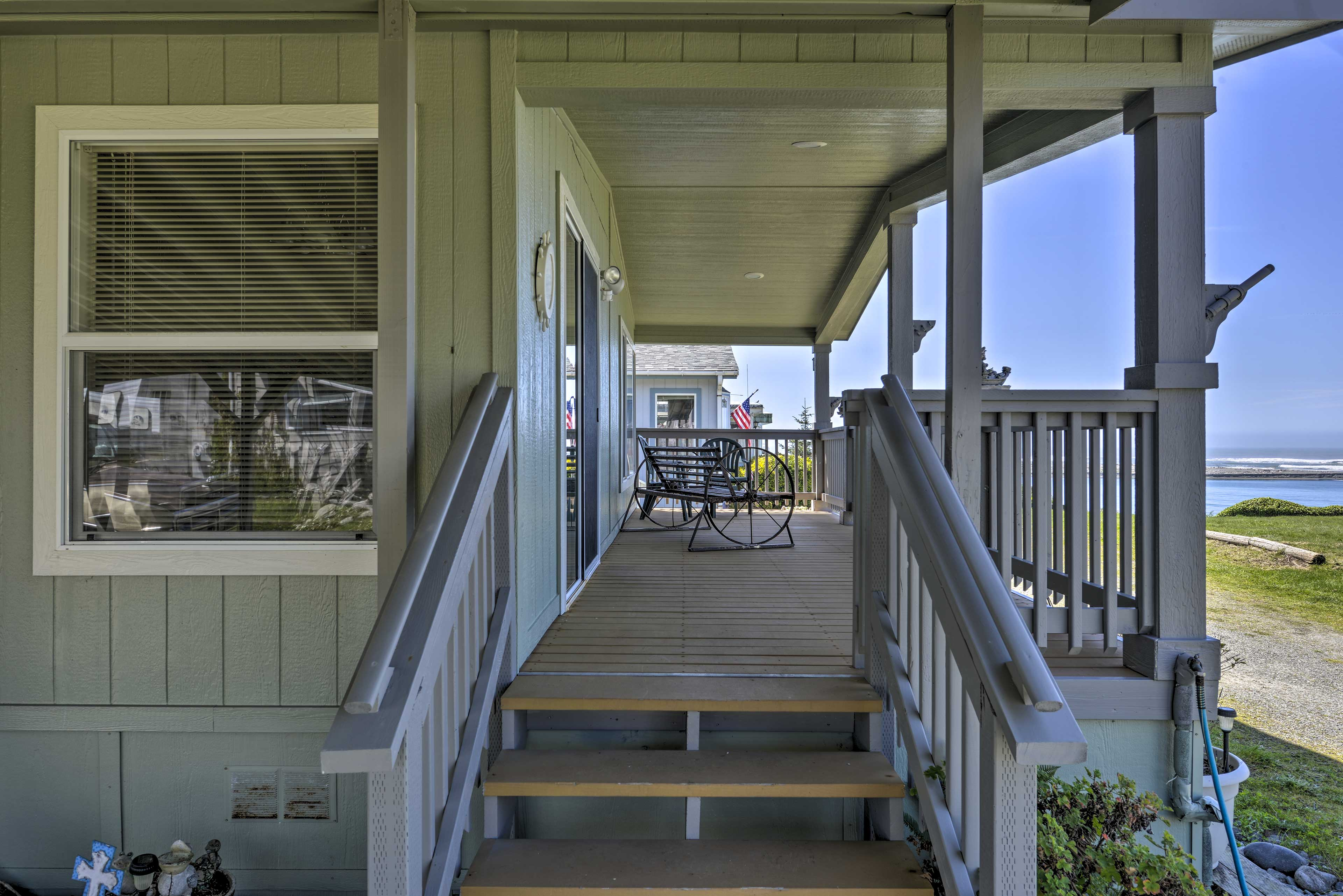 The spacious porch is an ideal place to unwind after a day of hiking.