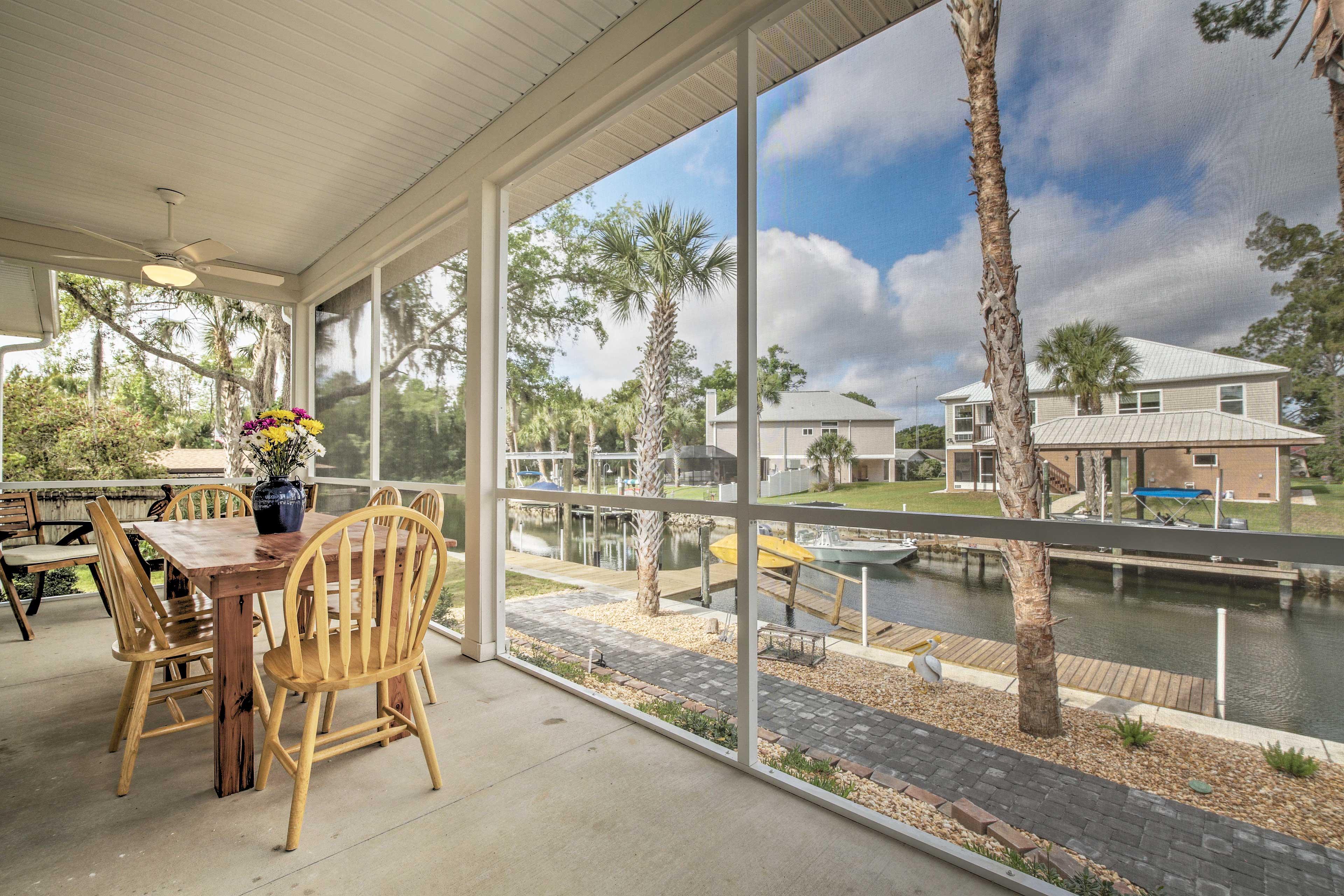 Enjoy breakfast on the screened porch.