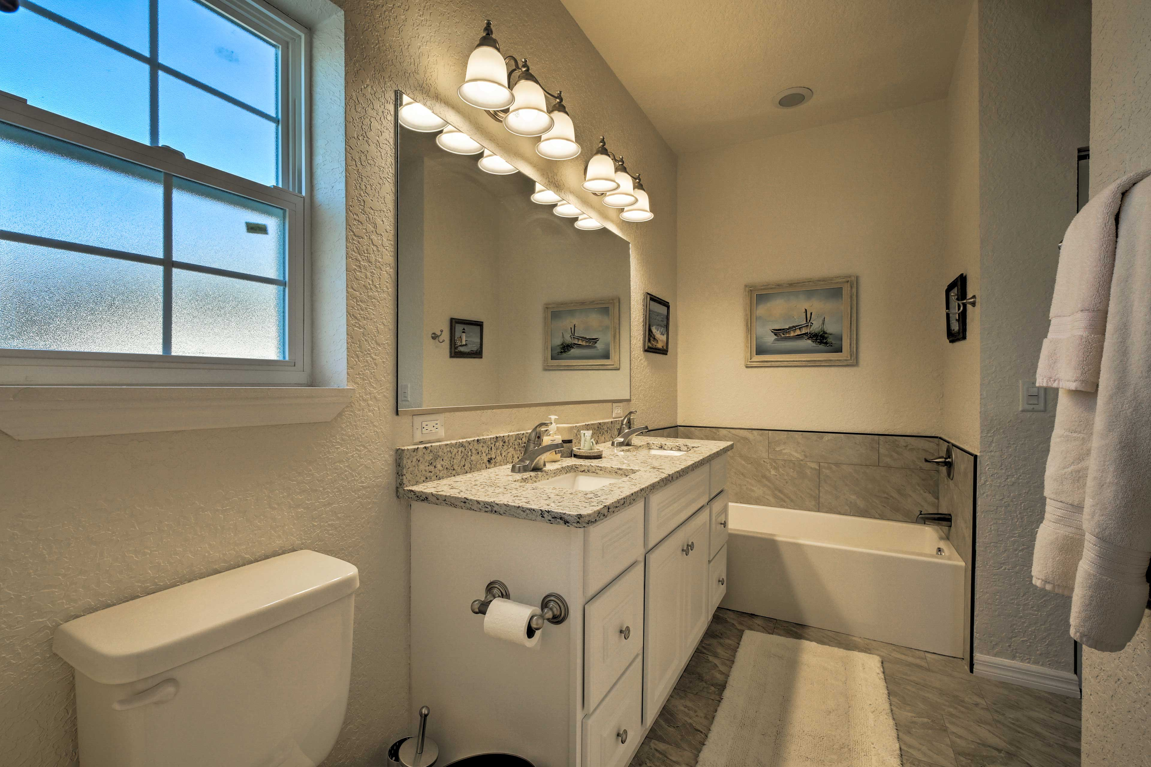 Enjoy the convenience of a walk-in shower and separate bath.