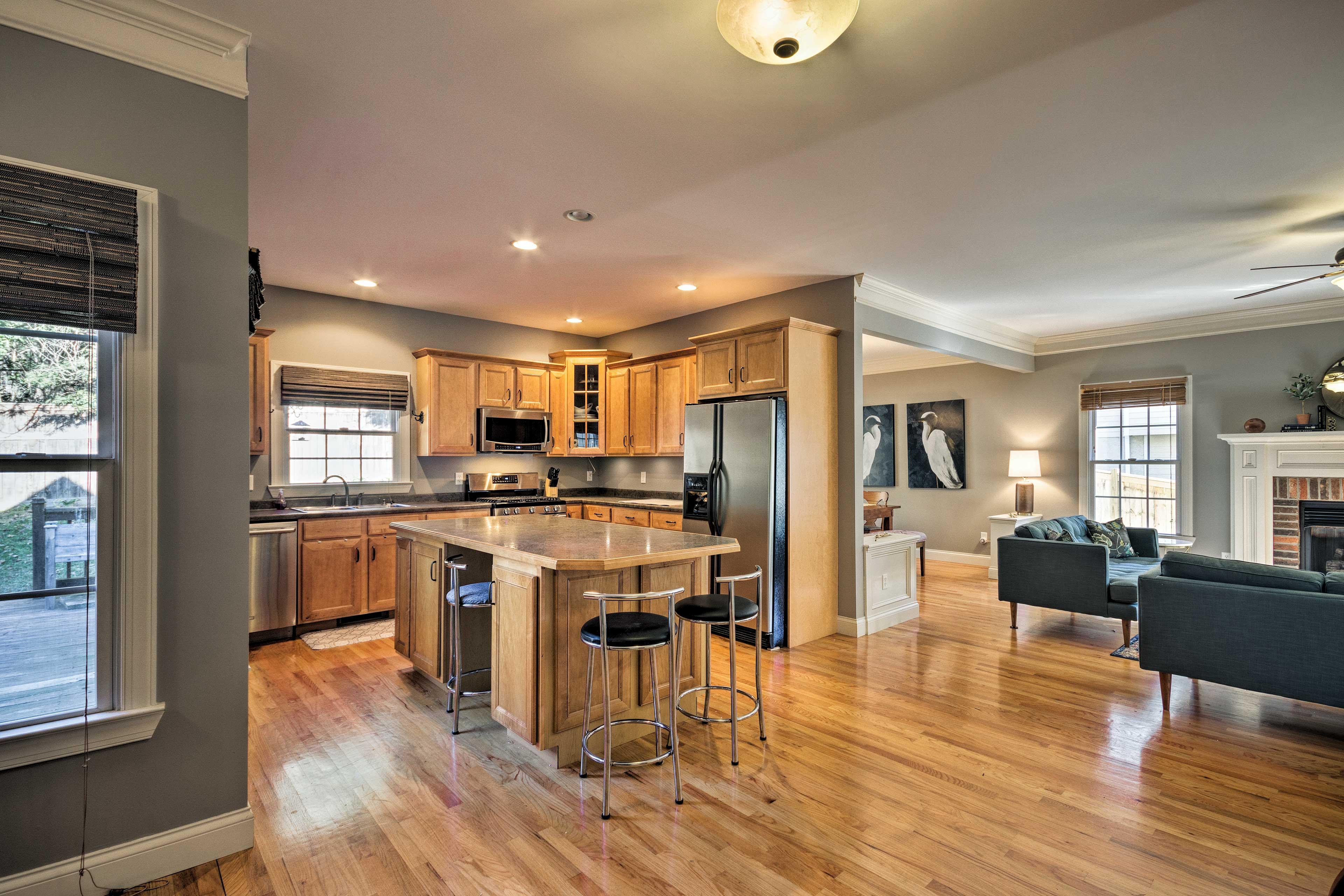 The open floor plan makes the home feel even more spacious.