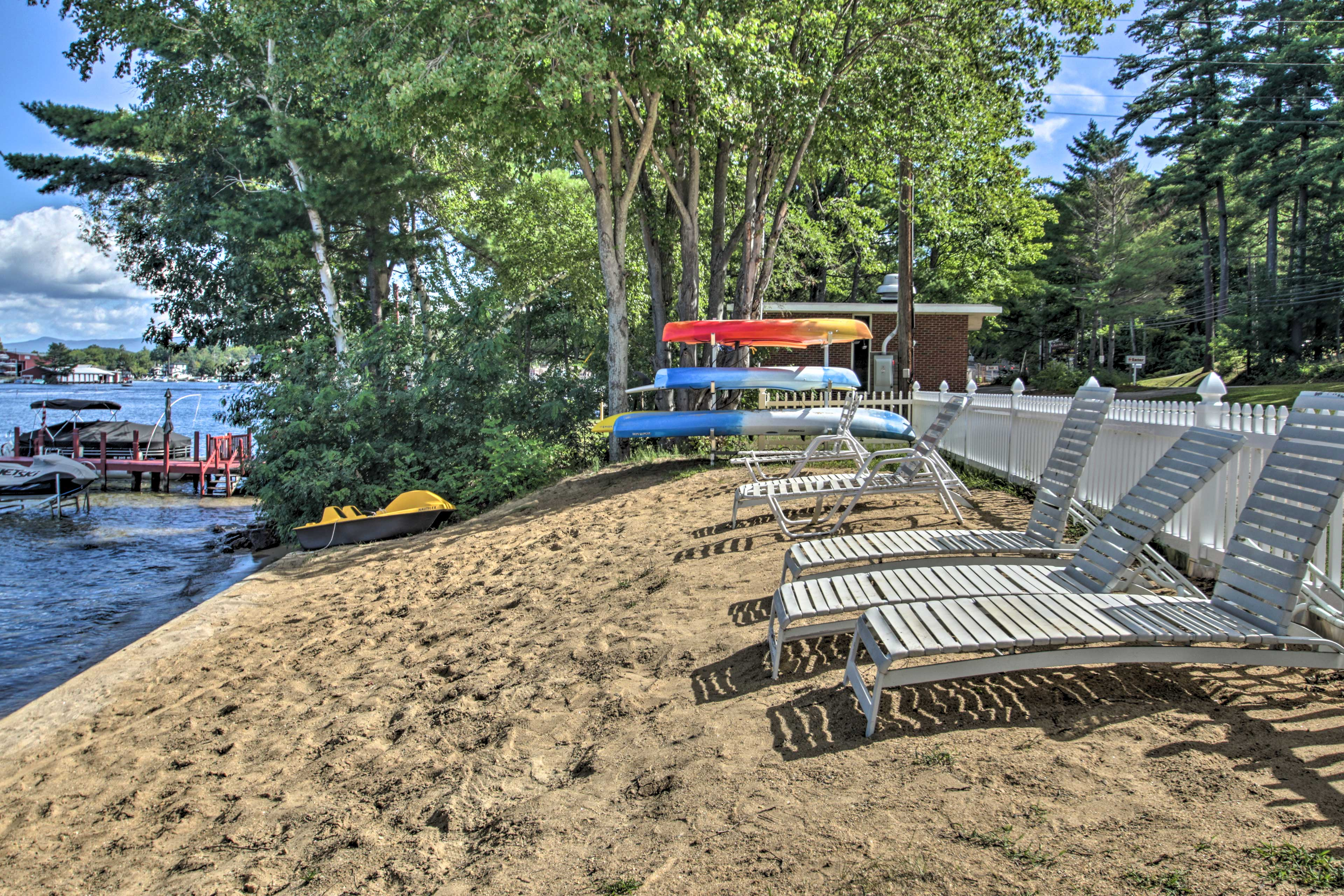 Head down to the lakeshore to lounge in the sand.