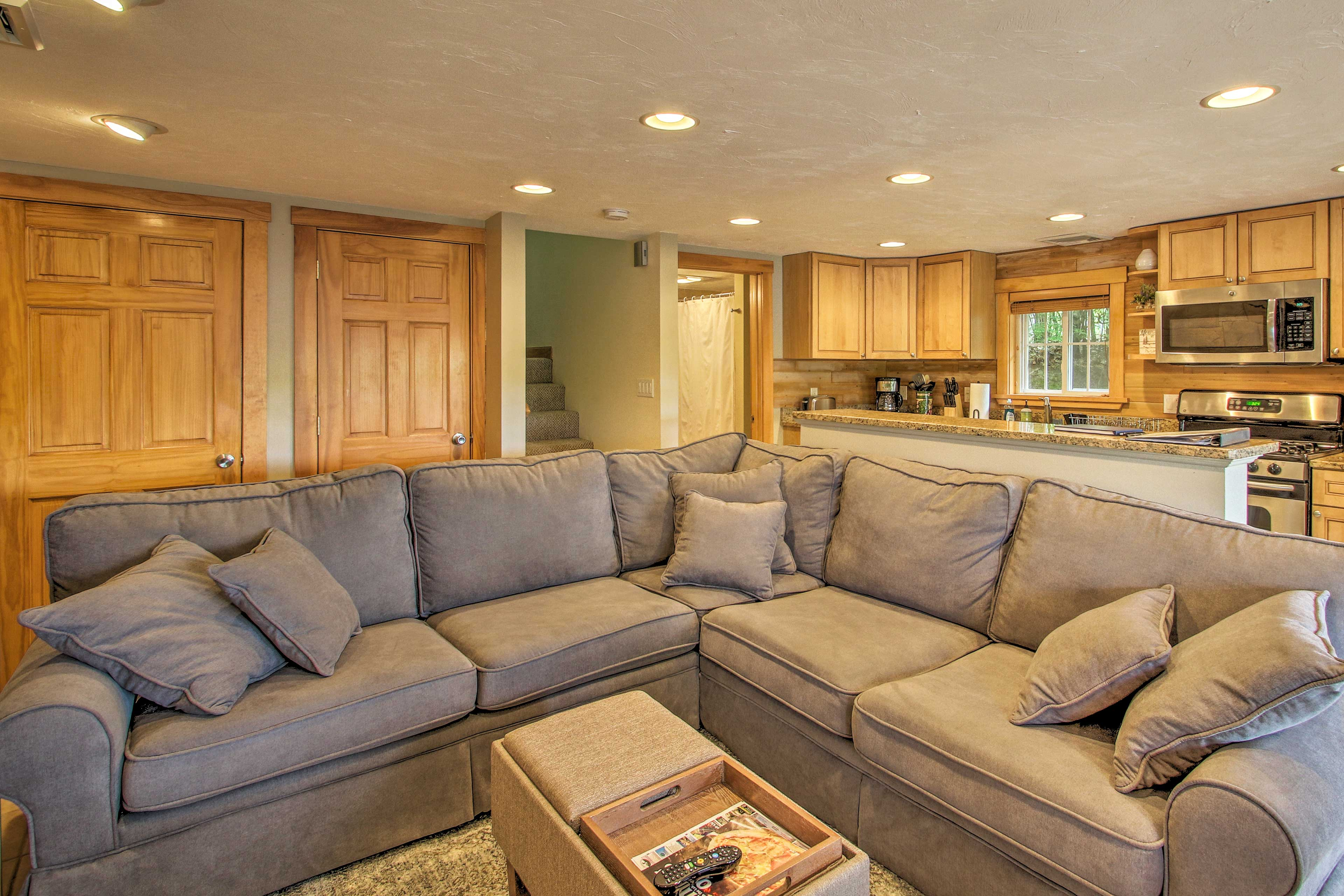 Warm up by the gas fireplace while you lounge on the sofa.