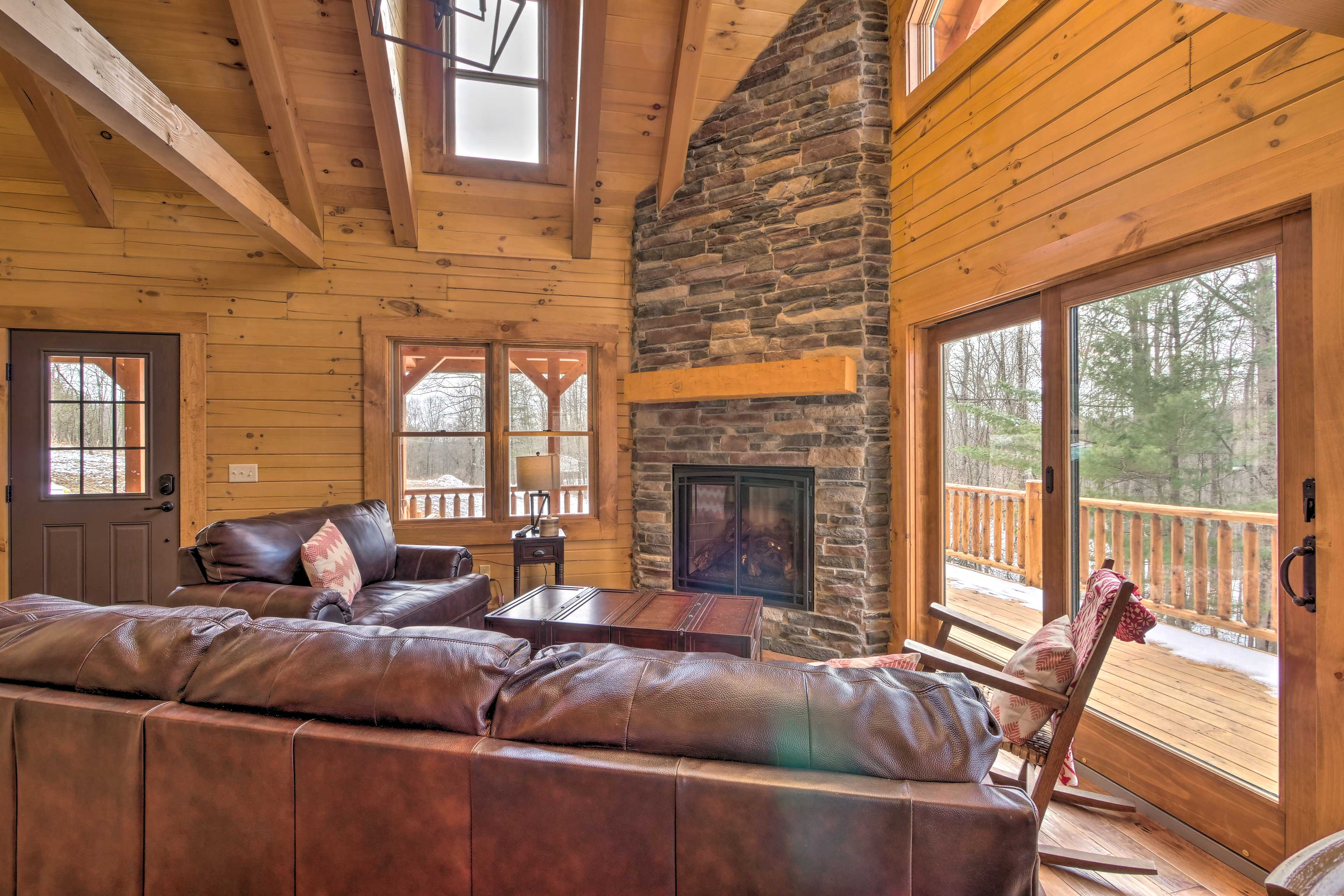 The stone fireplace will keep you warm on cool winter nights.