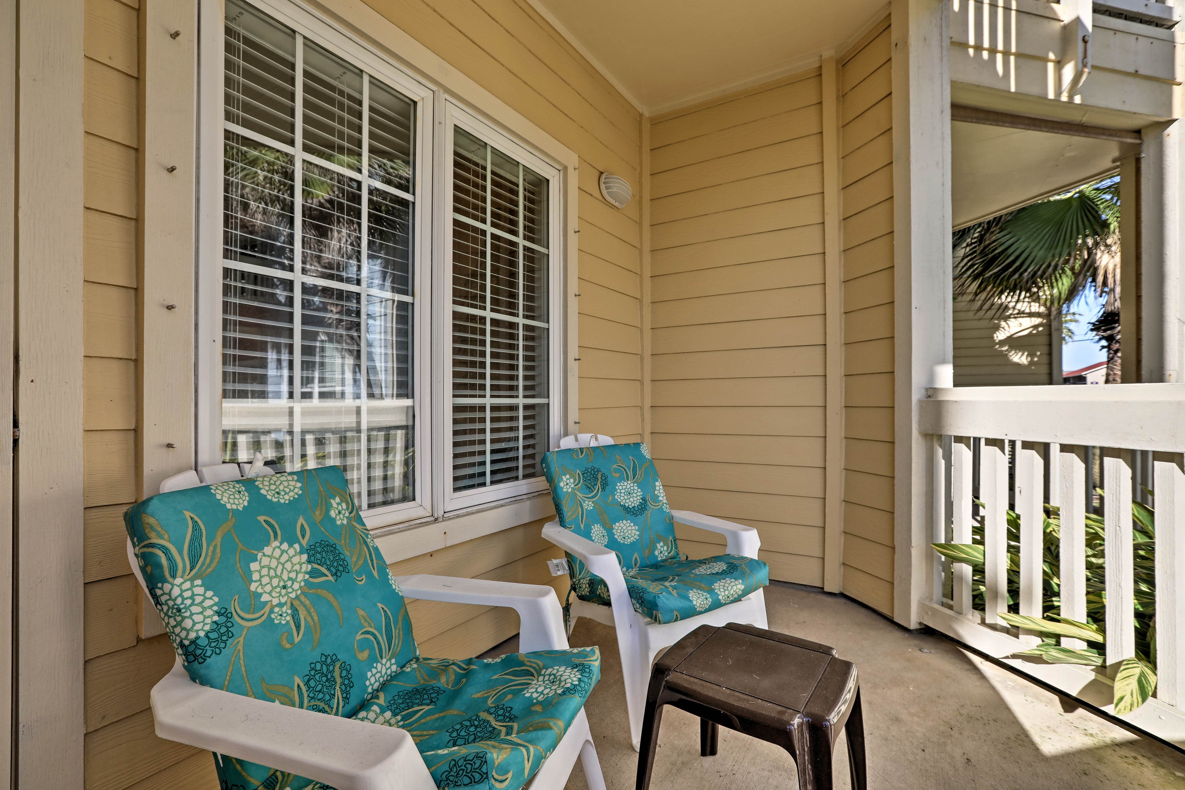 The private deck is the perfect space for a morning cup of coffee.