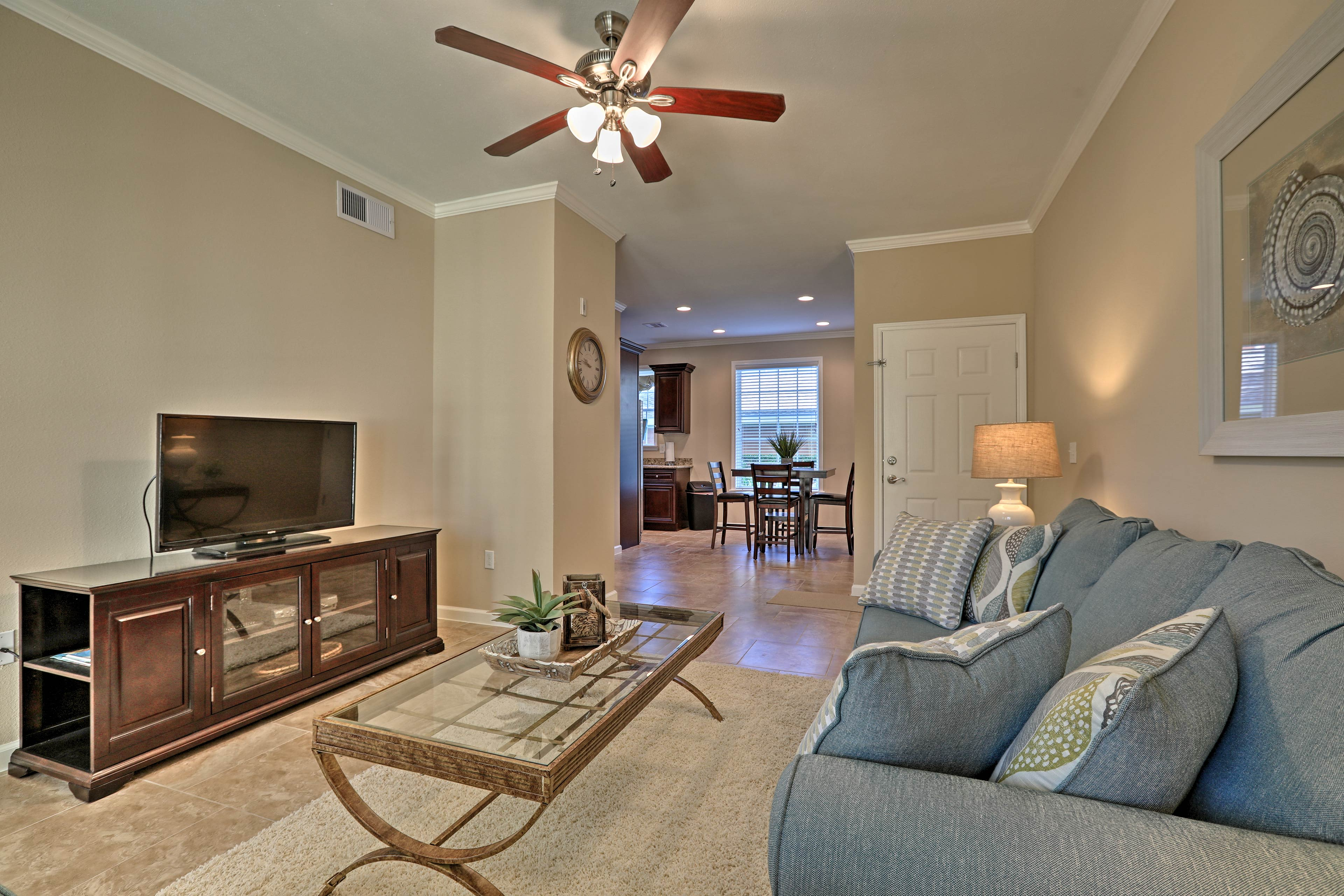 The spacious living area is the perfect area to convene as a family.