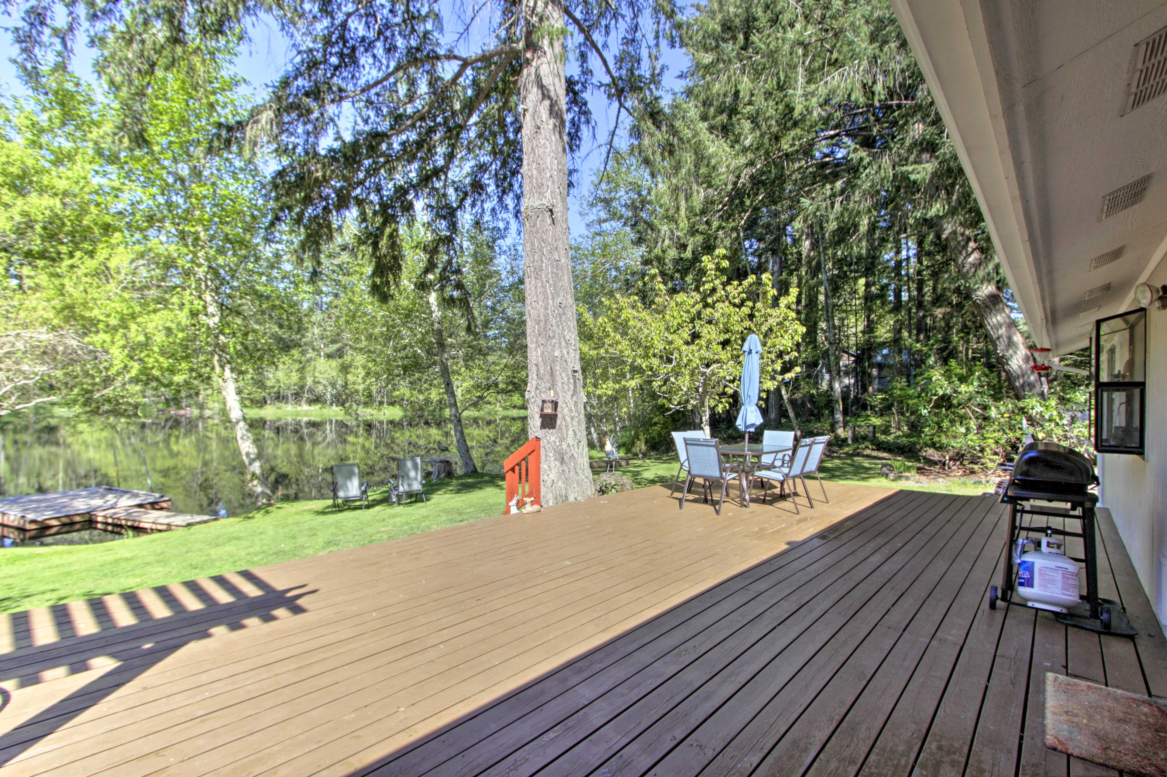 Step out onto the deck to breathe in the fresh air!
