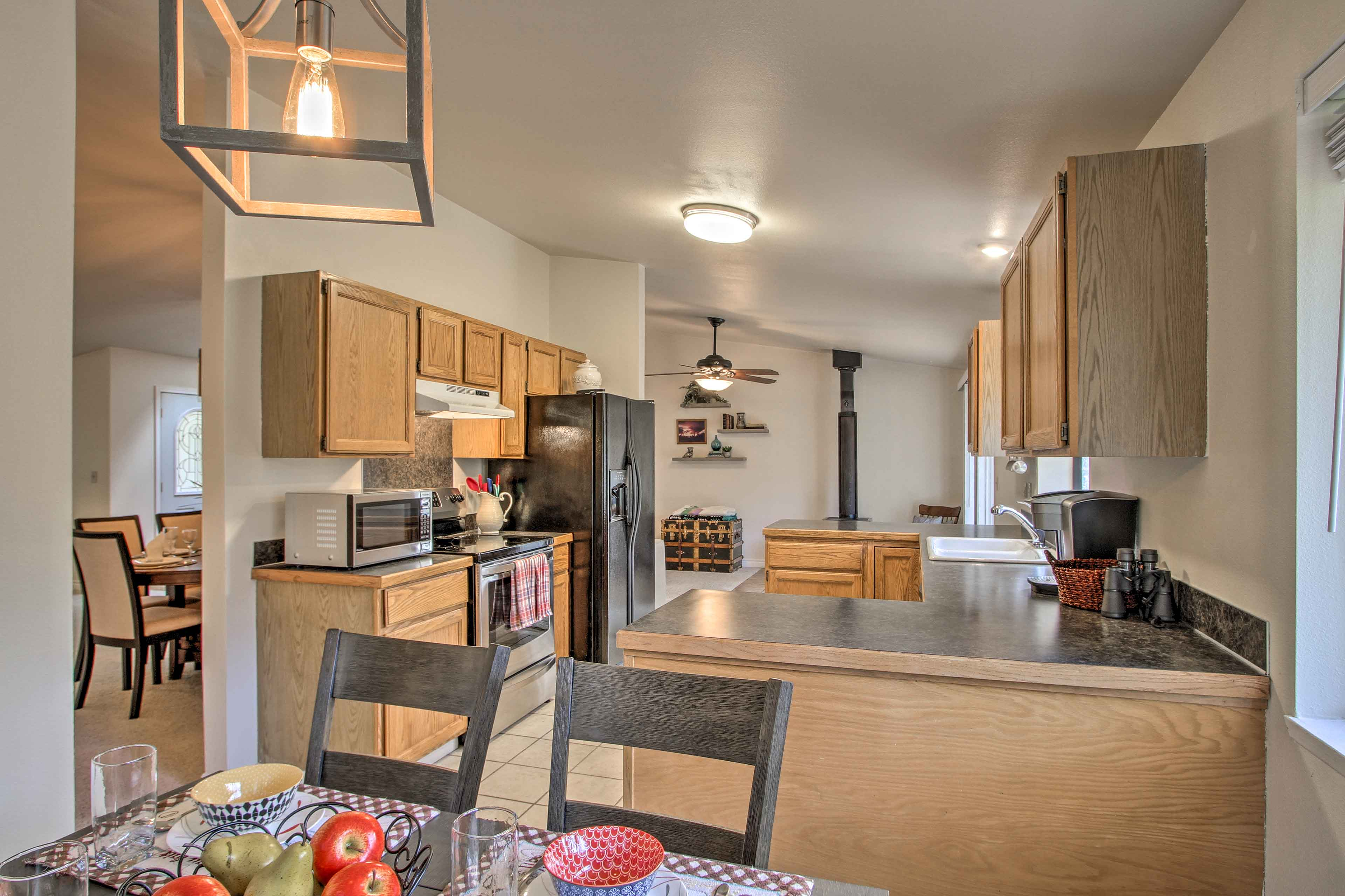Fully equipped, this kitchen can handle all your favorite recipes.
