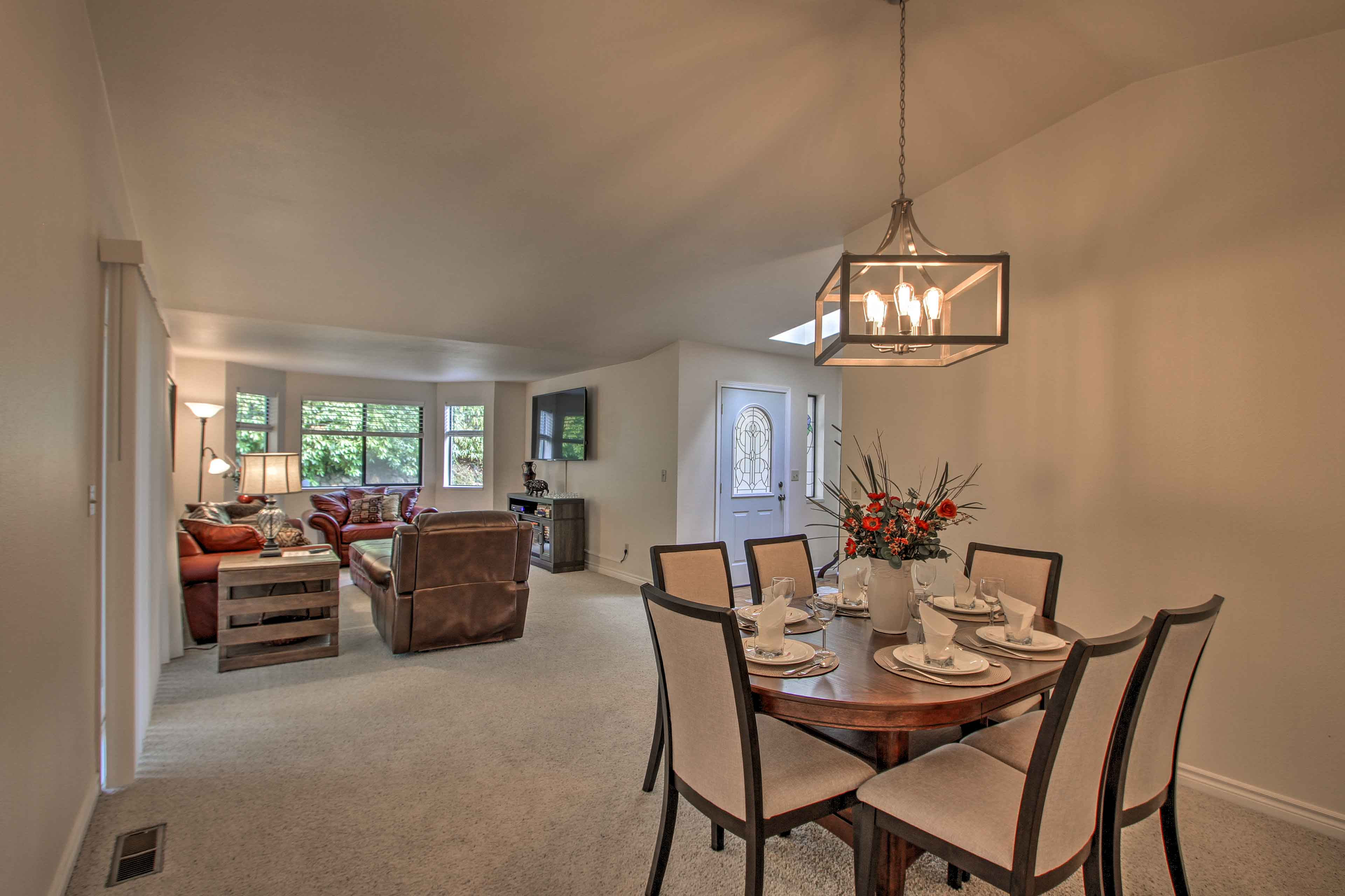 The open layout leads over to this dining area.