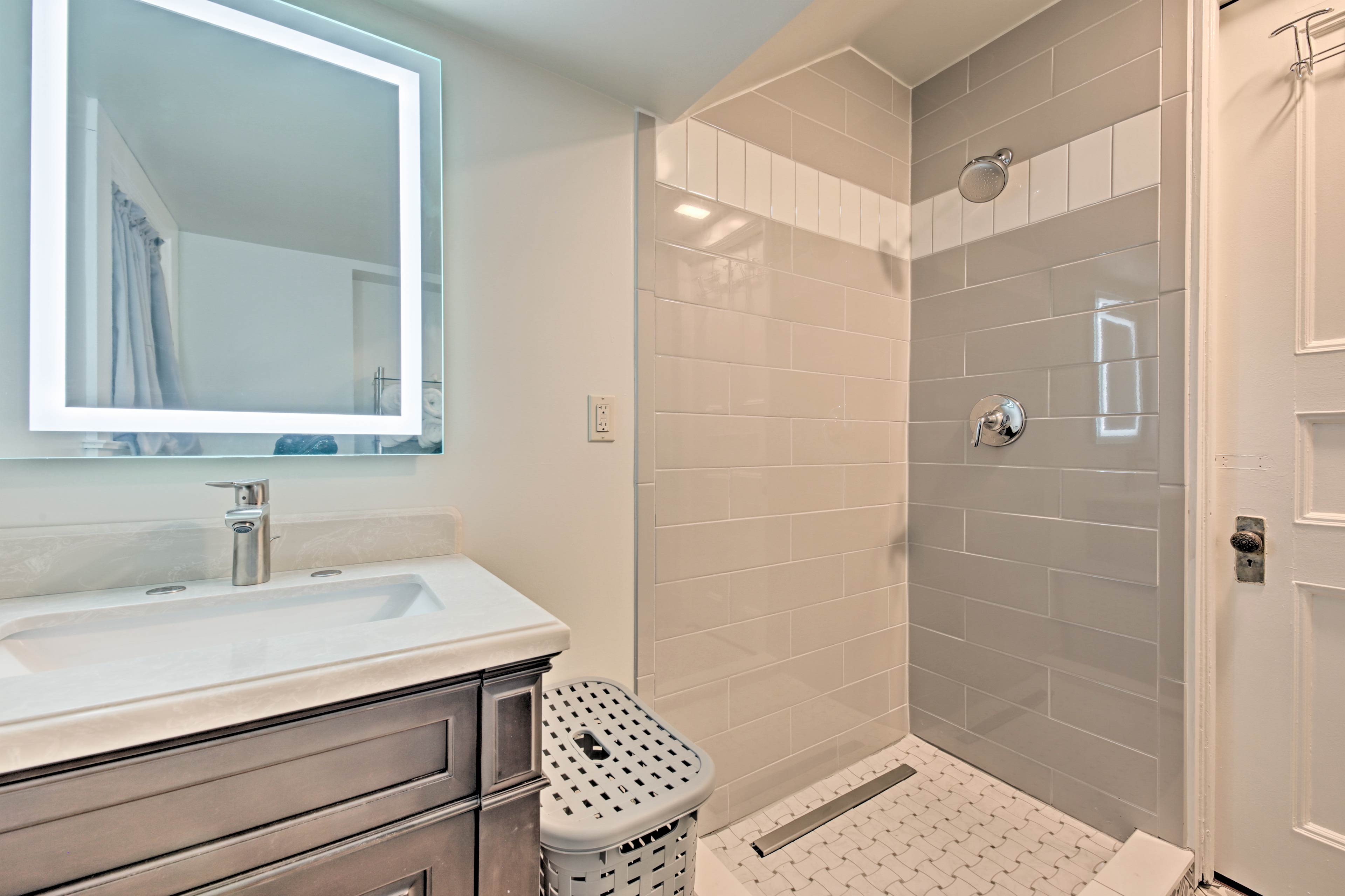 The walk-in rainhead shower is great for a quick yet refreshing rinse.