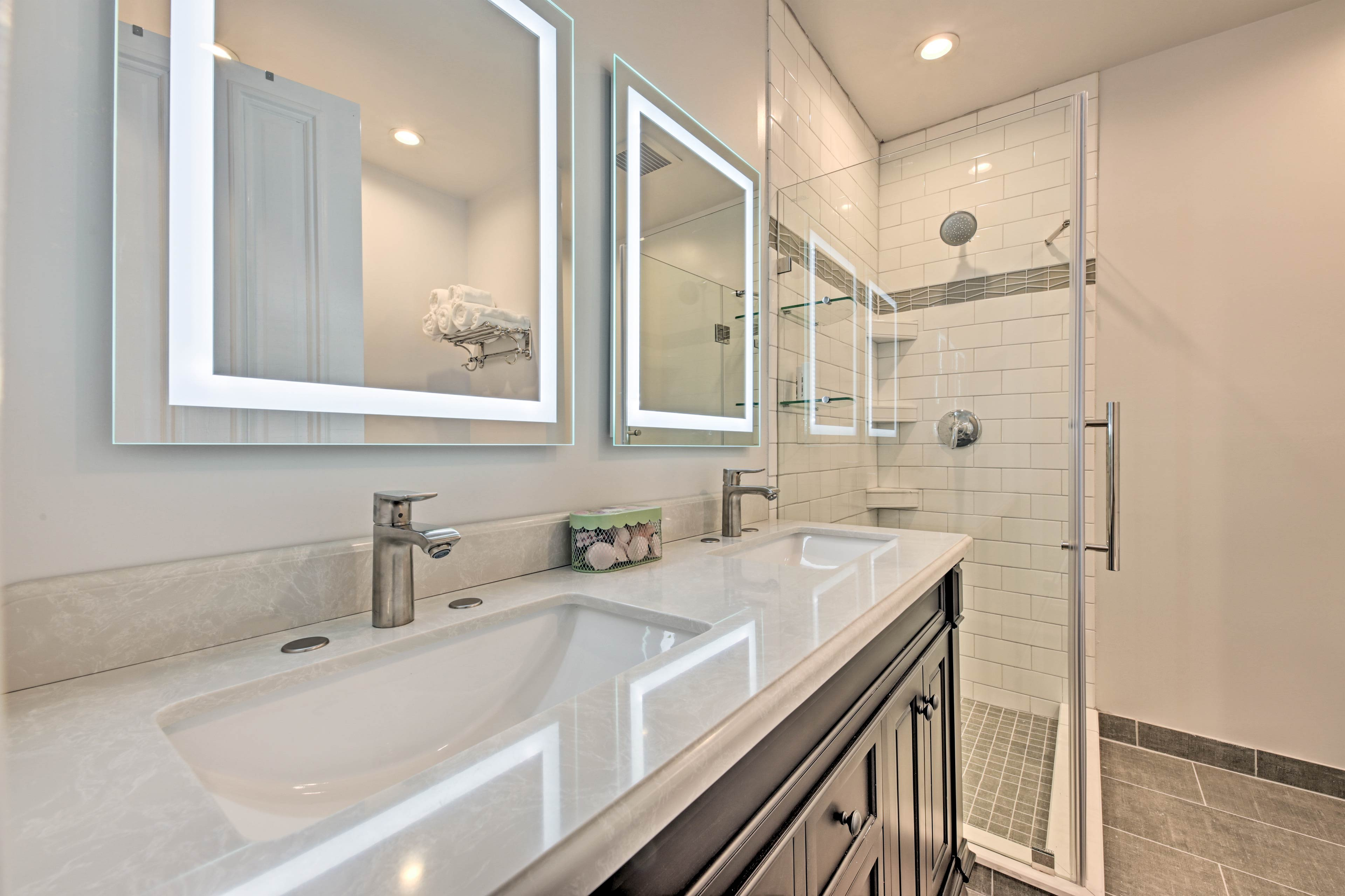 Pamper yourself in style with this spacious, modern double vanity.