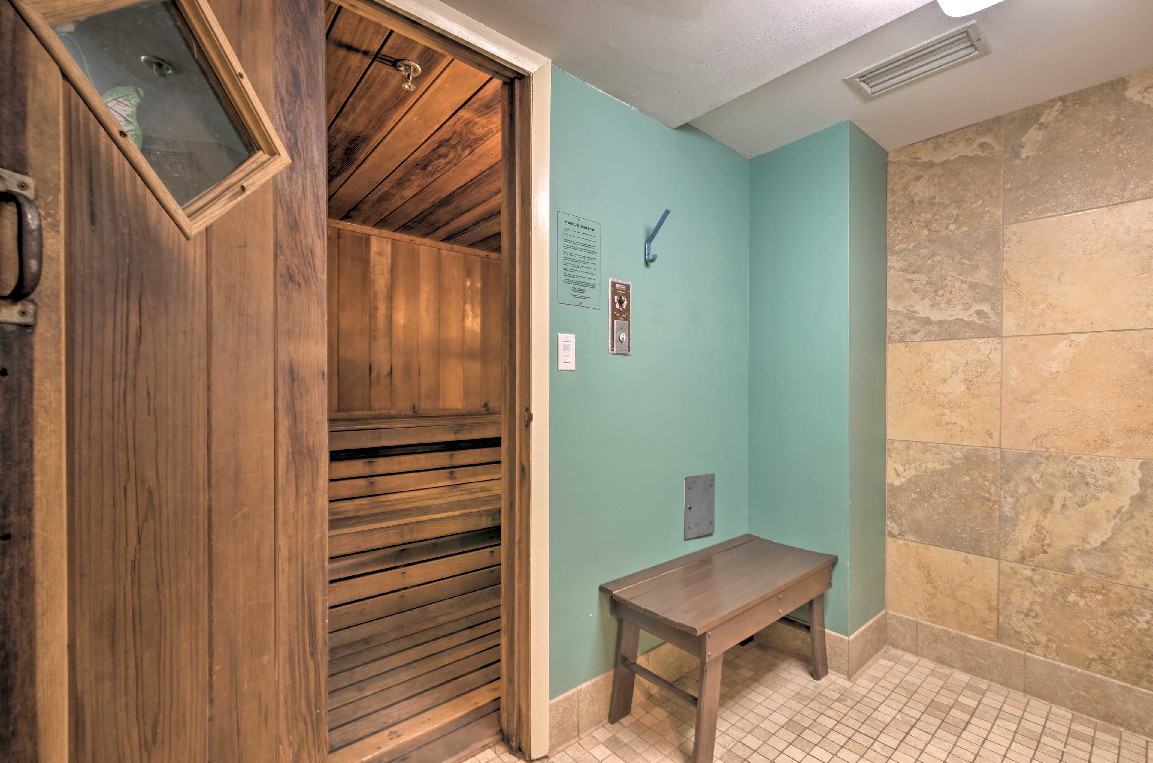 You're sure to enjoy the community sauna.