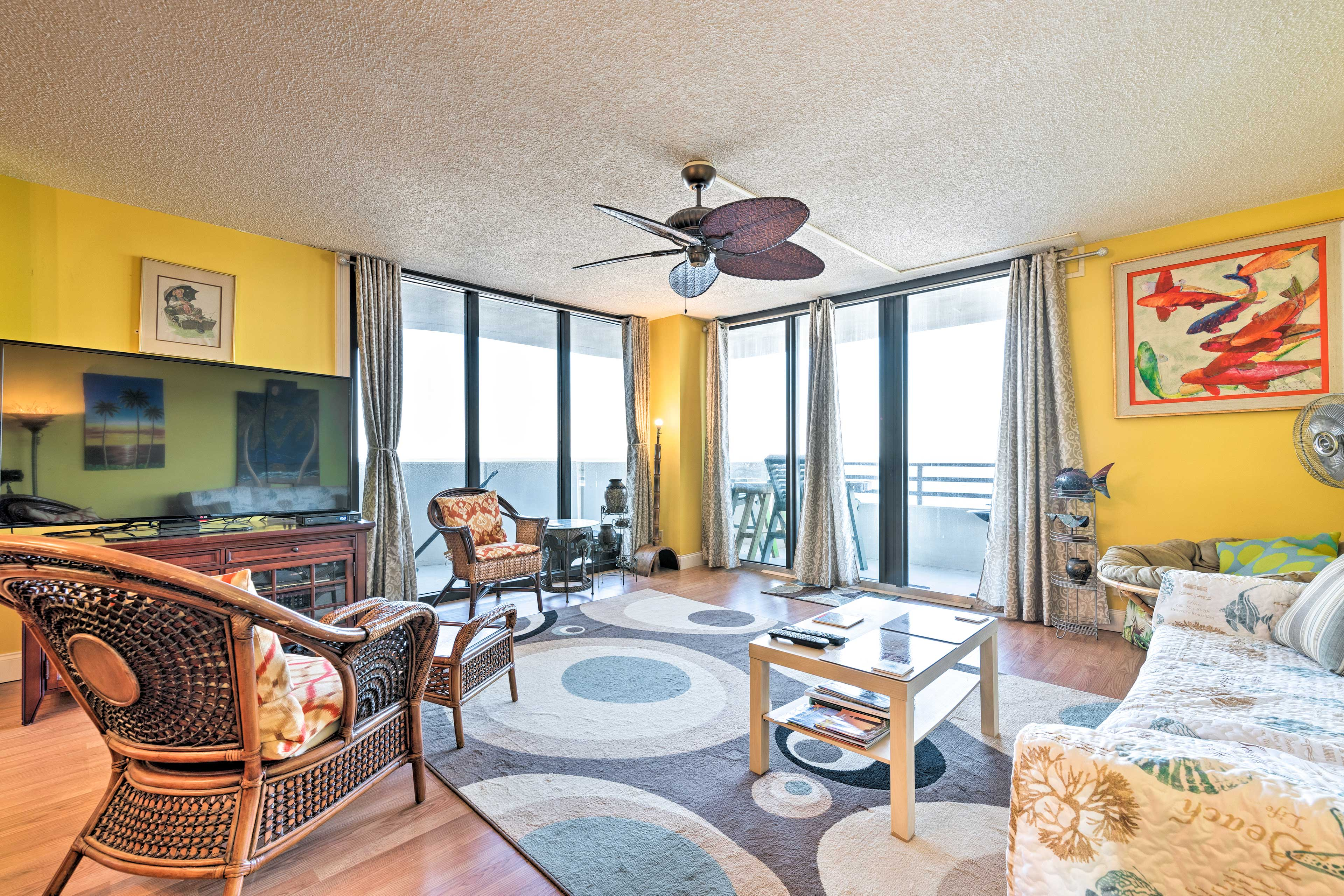 The eclectic interior boasts 1,700 square feet for up to 6 guests.