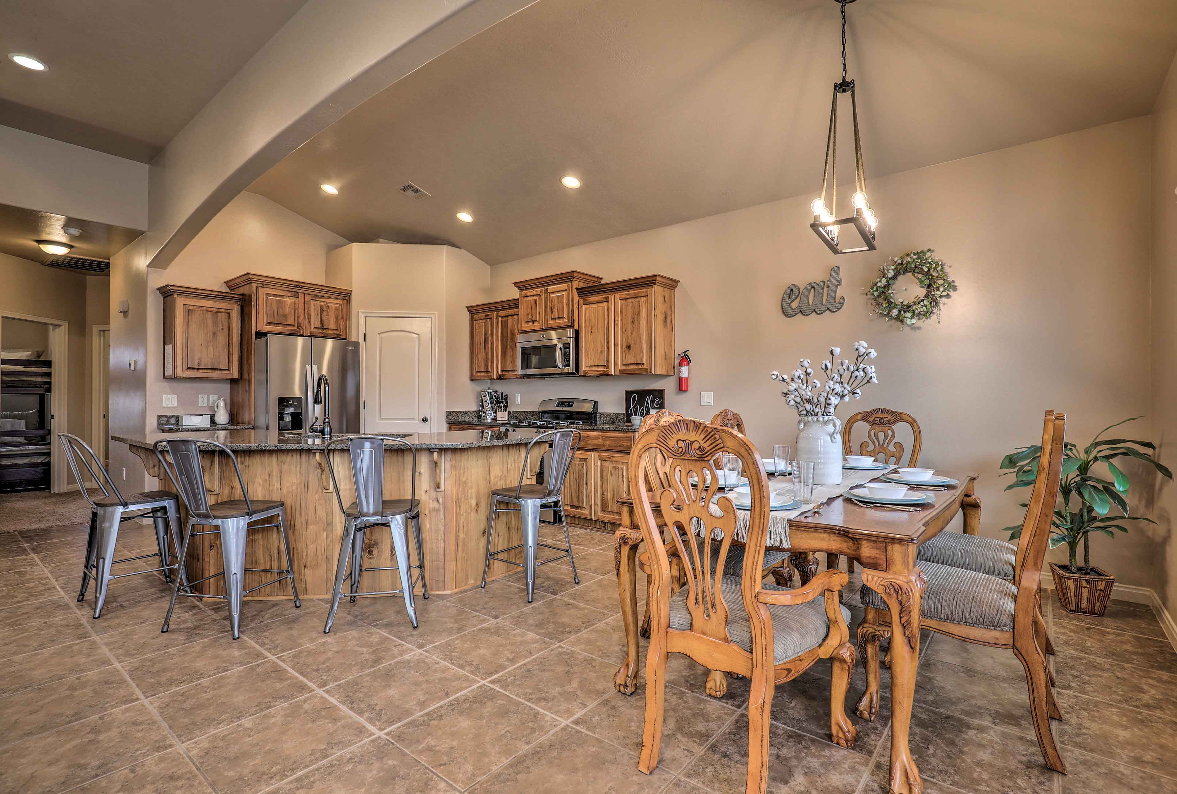The interior features 2,600 square feet of living space - plenty of room for 13!