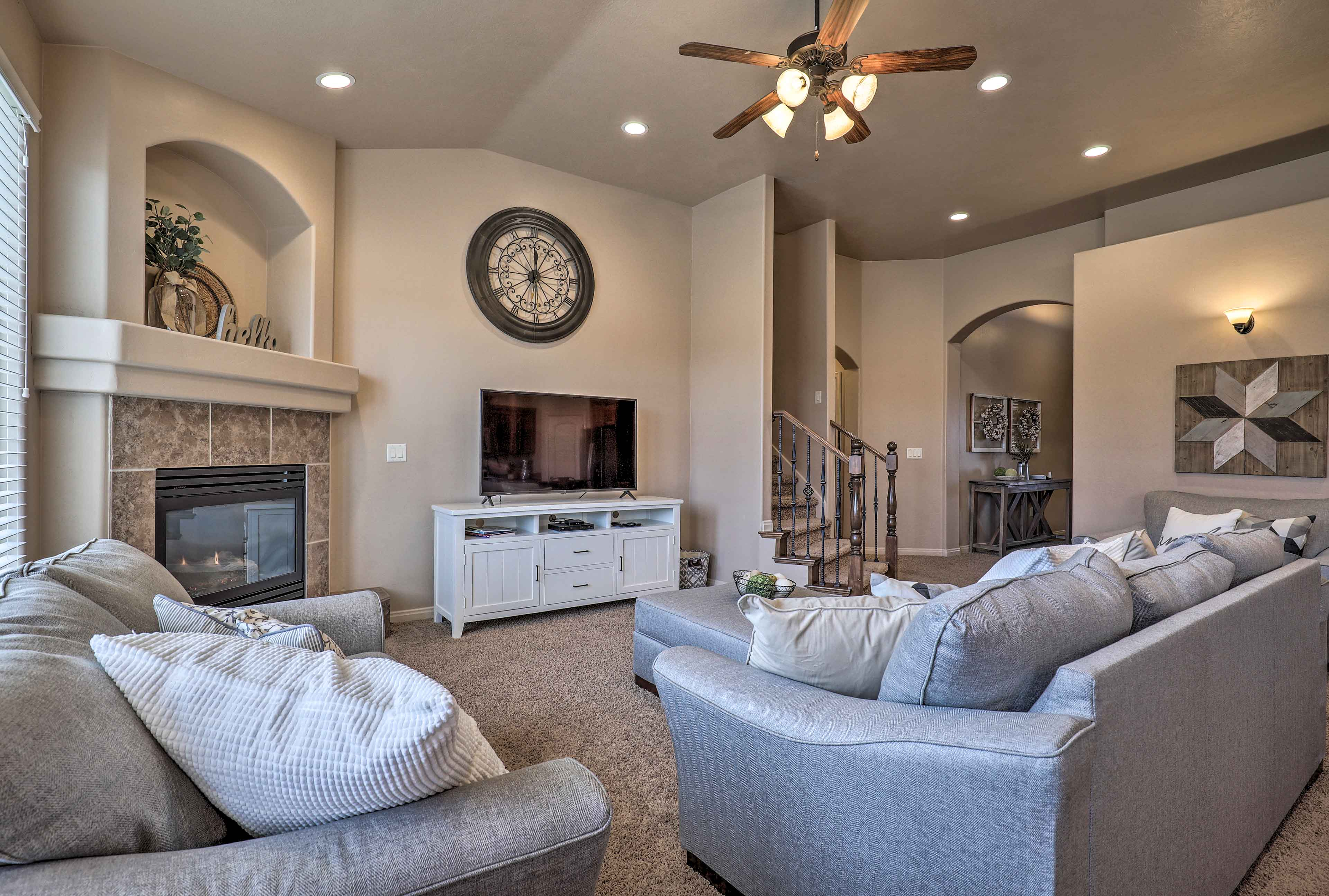 Make  yourself at home in the open-concept great room.