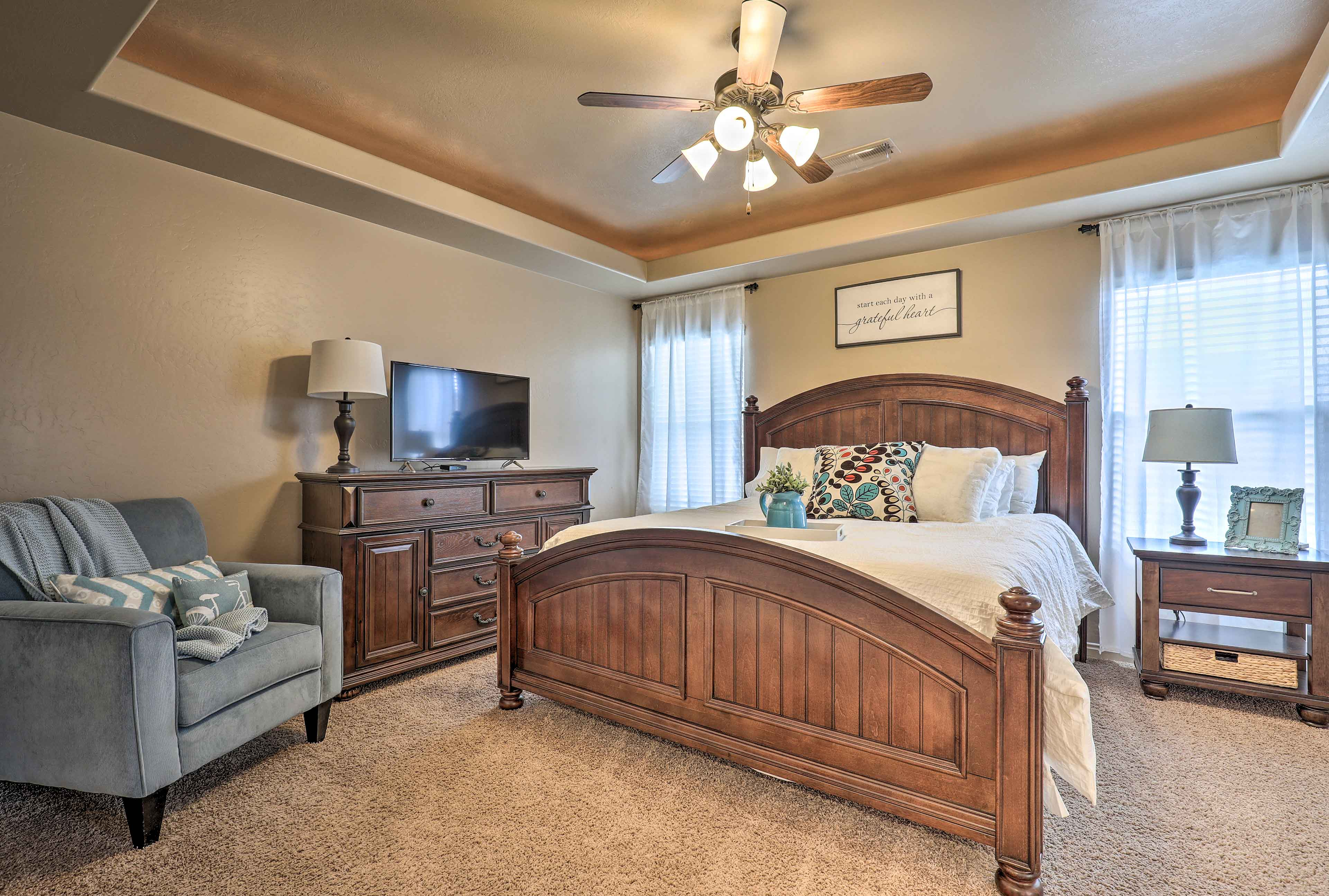 Claim the master bedroom and you'll be treated to a king bed and cable TV.