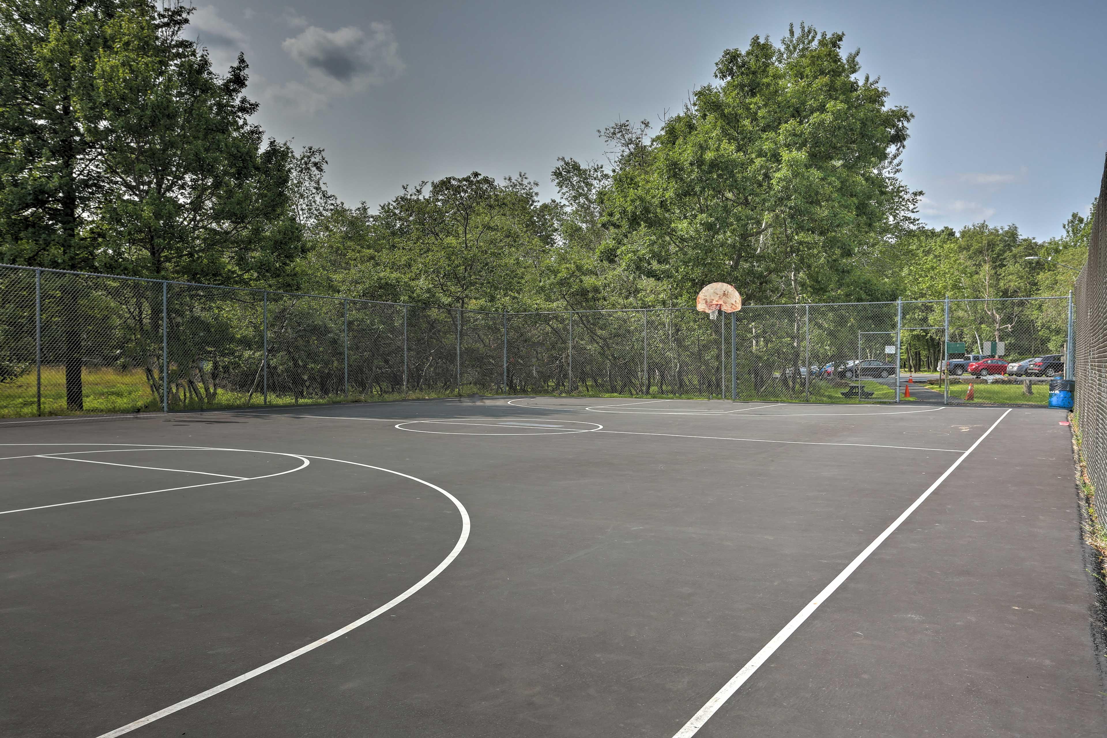Enjoy a fun workout at the basketball court.