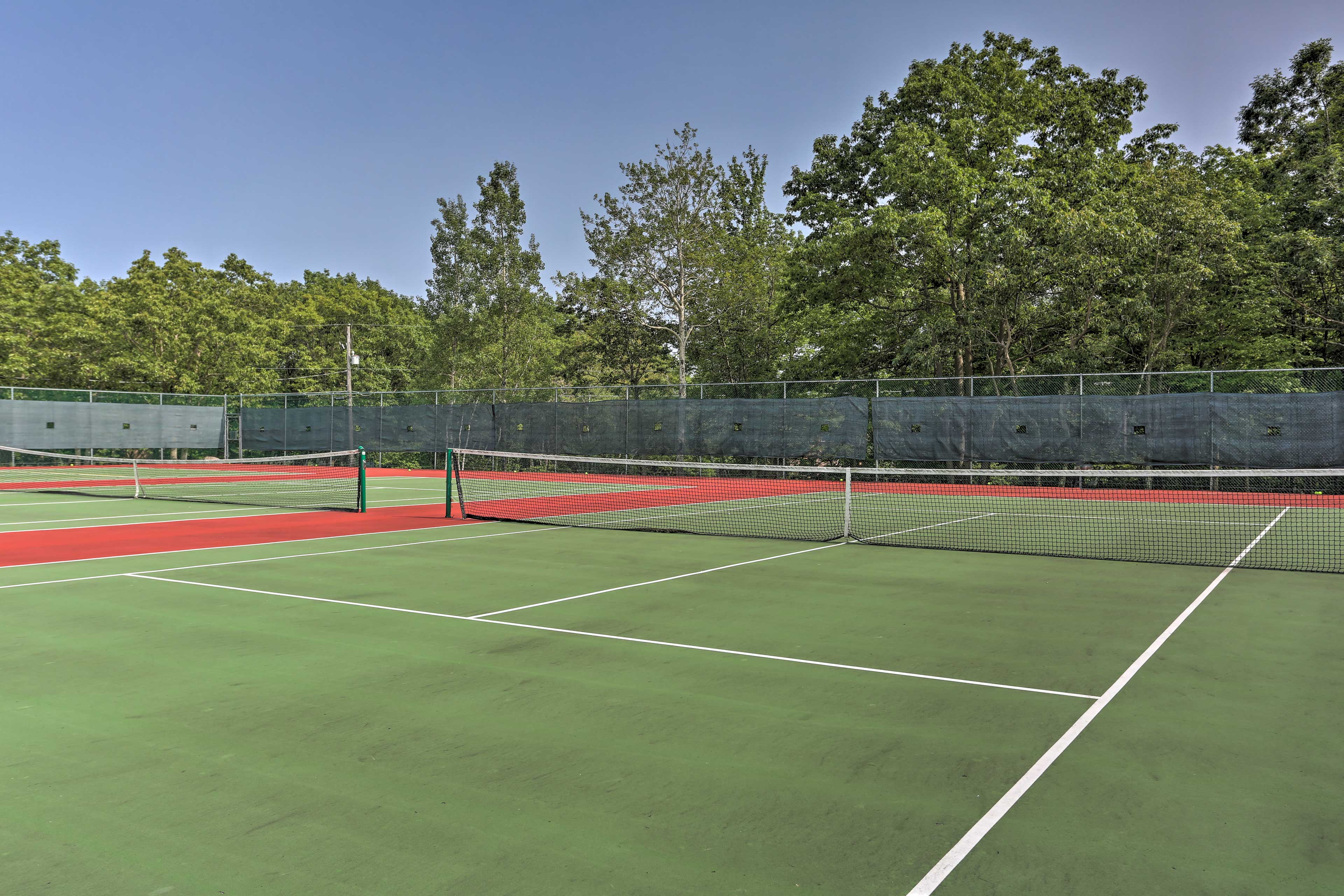 Grab a partner and enjoy a few rounds of tennis.
