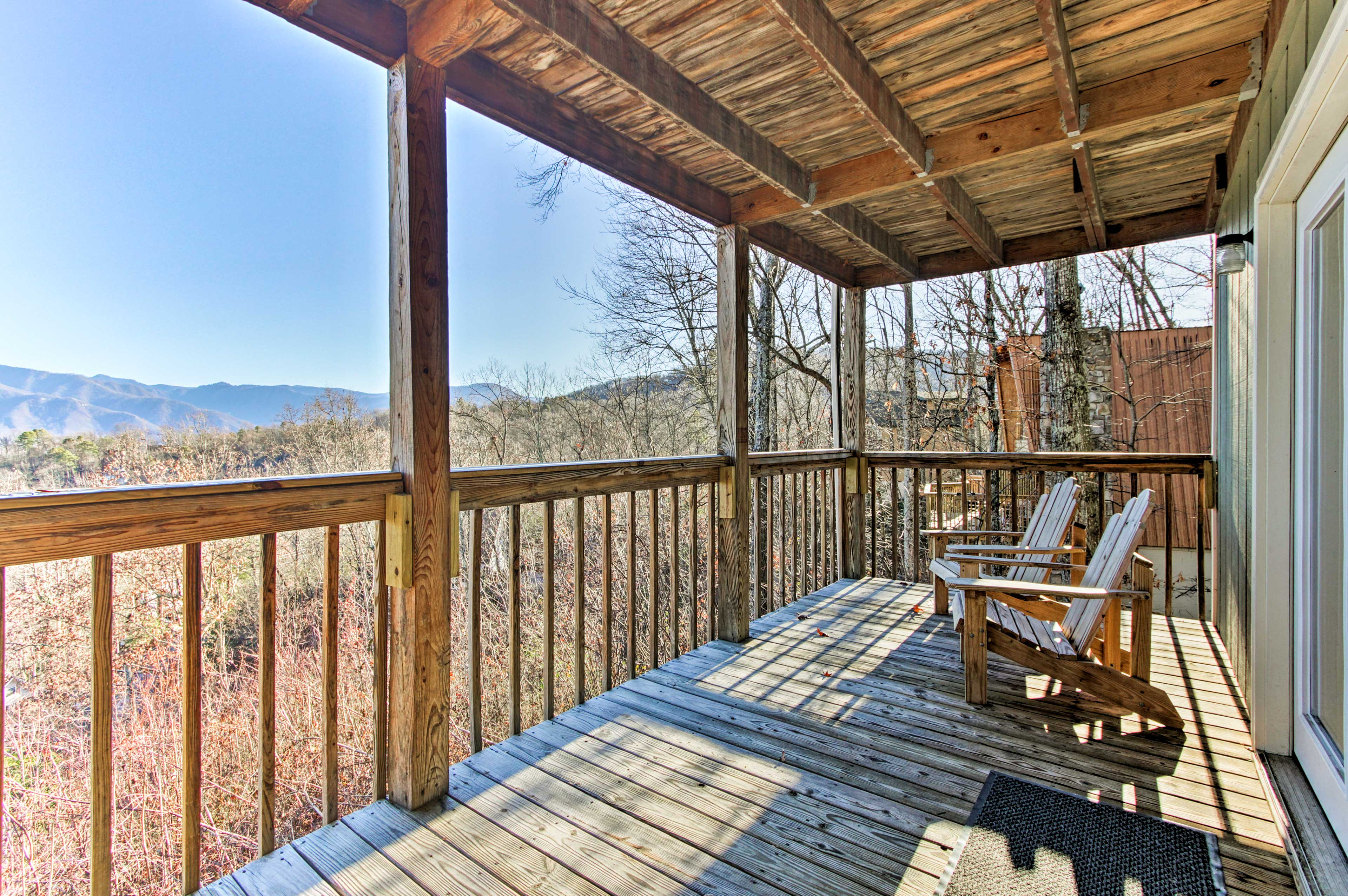 Sip your morning coffee in the Adirondack chairs on the lower deck.