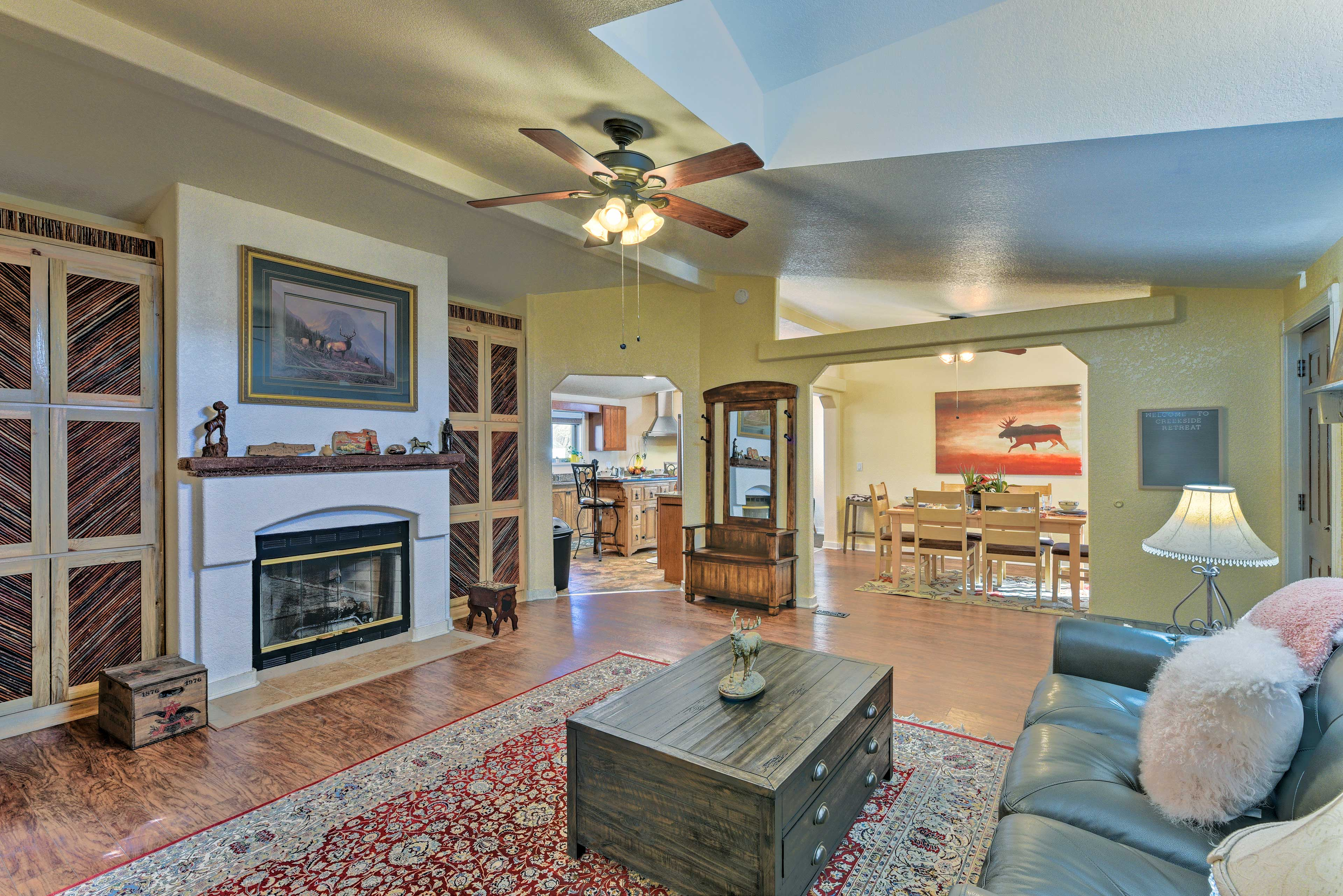 Gather a group of 9 & head to this spacious abode, located 5 minutes to Main St!