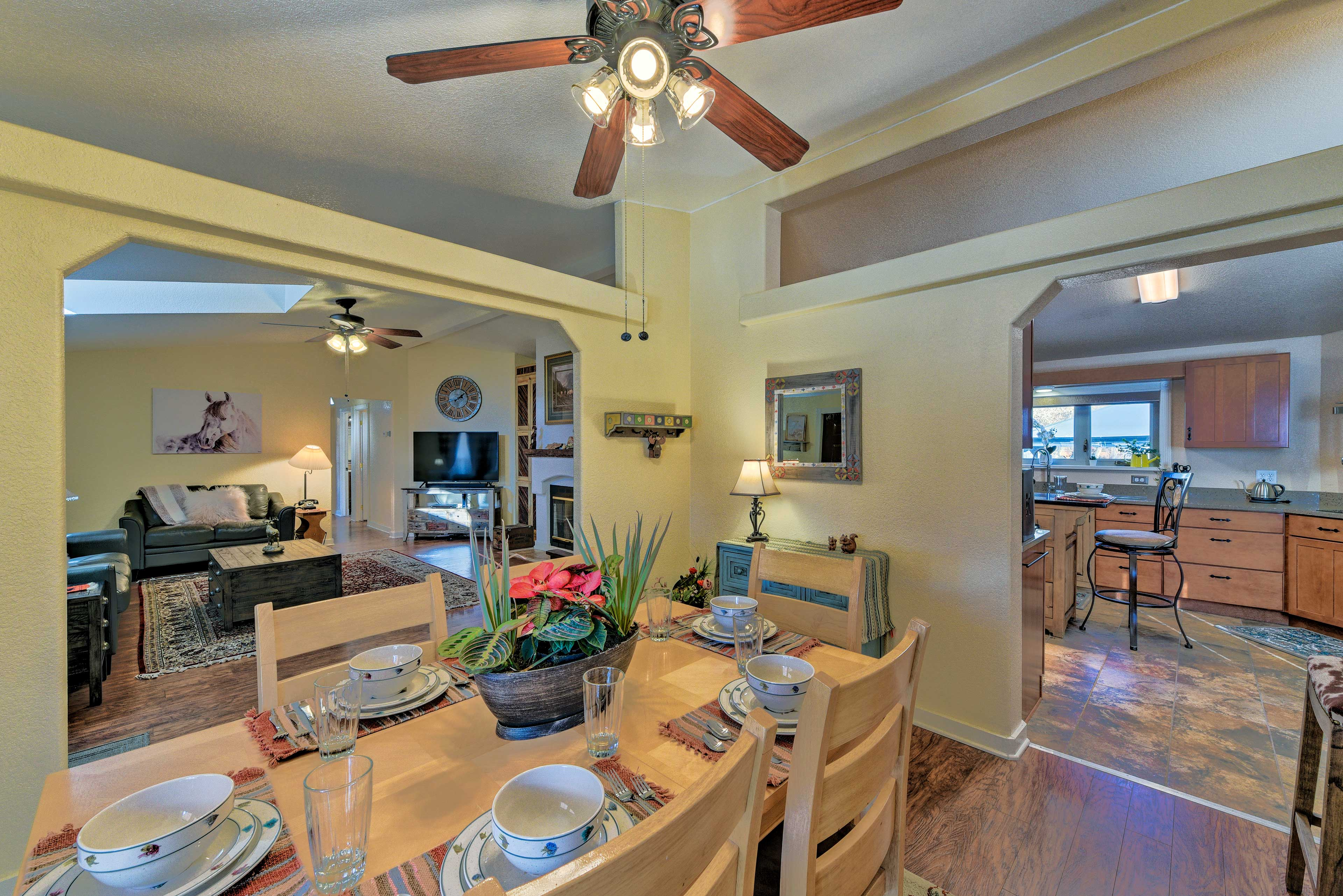 The open dining room is adjacent to the living area & kitchen.
