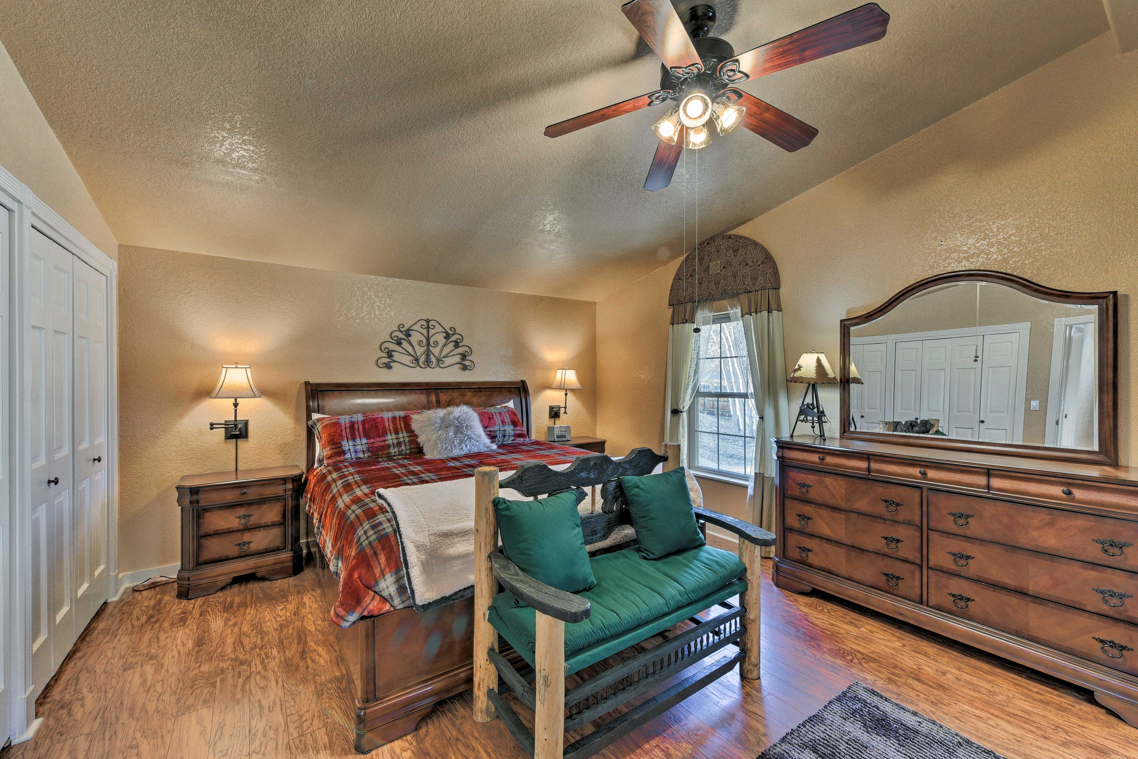 Heads of the household can retreat to this highly appointed master suite.