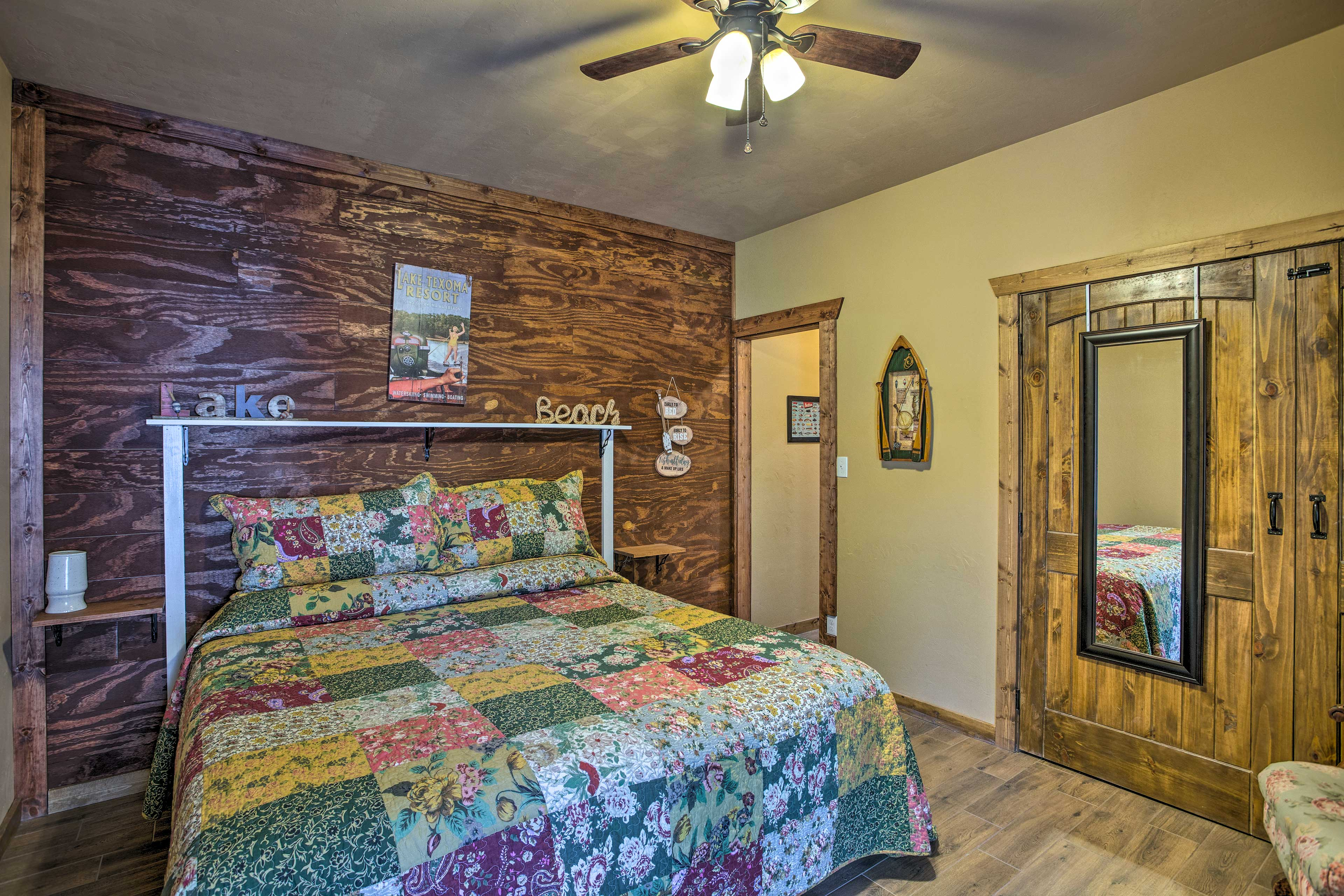 A second master bedroom can be found downstairs.
