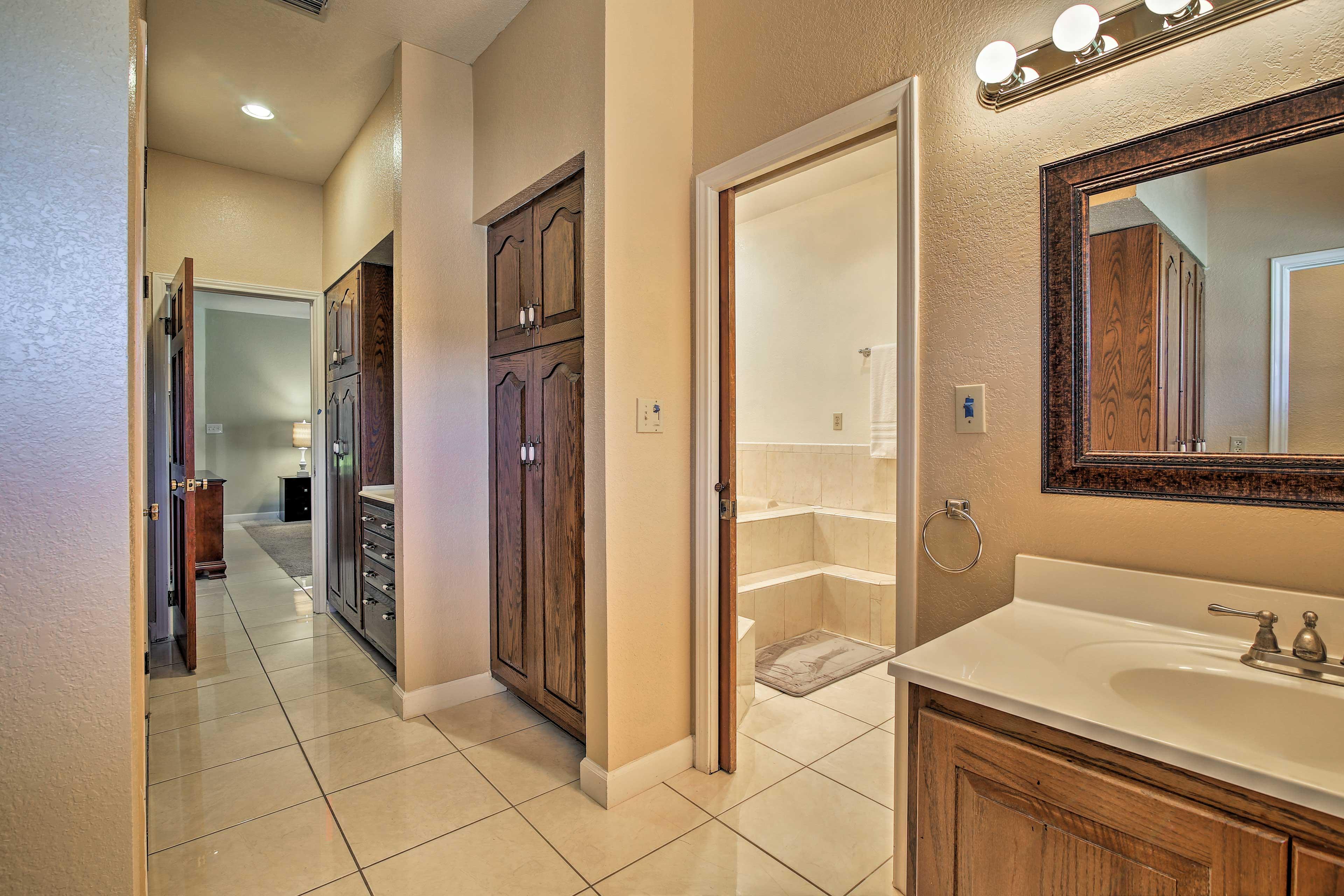 Freshen up in the luxurious en-suite bathroom.