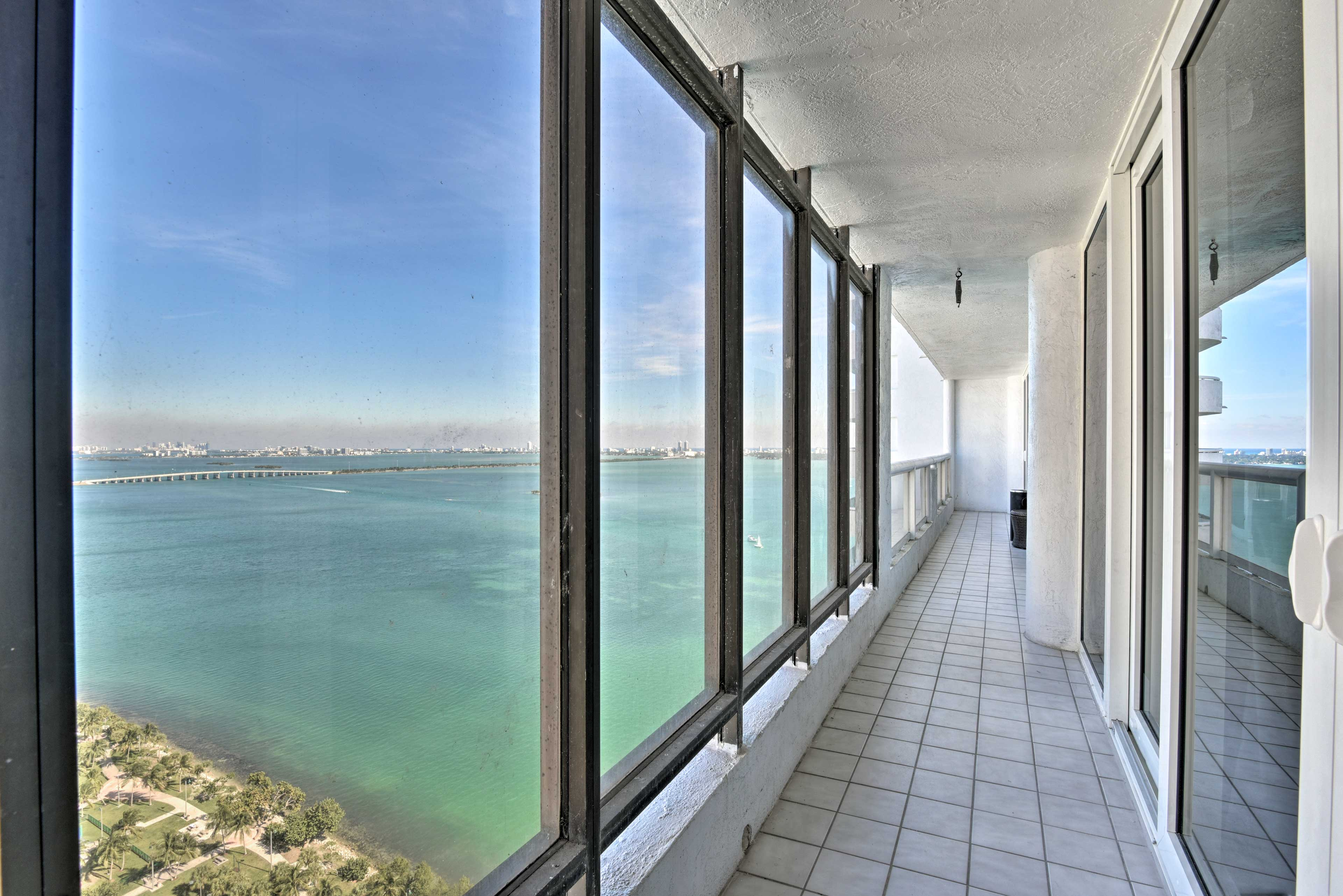 Step onto the expansive private balcony and enjoy the ocean views.
