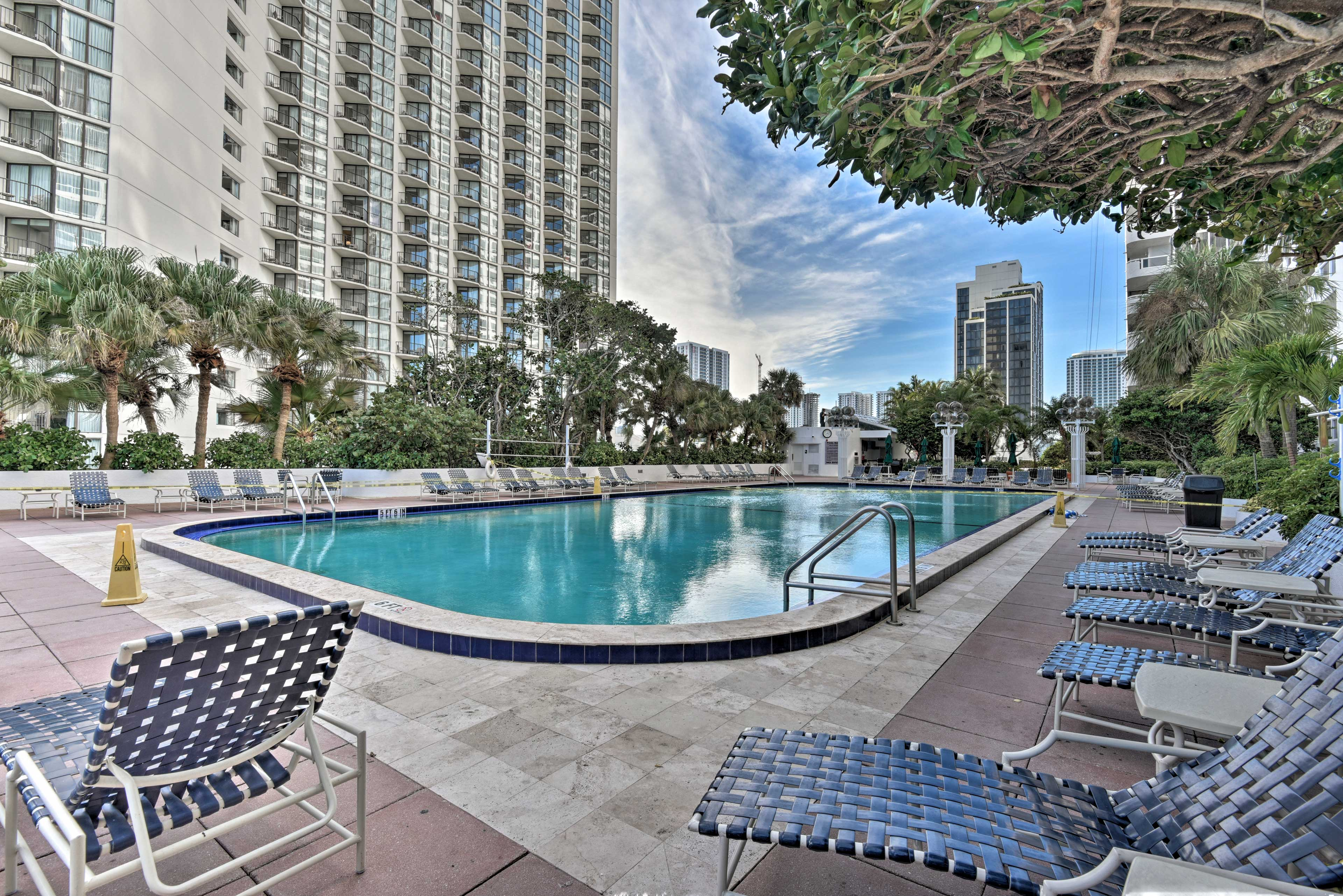 Beat the Miami heat with this large community pool.