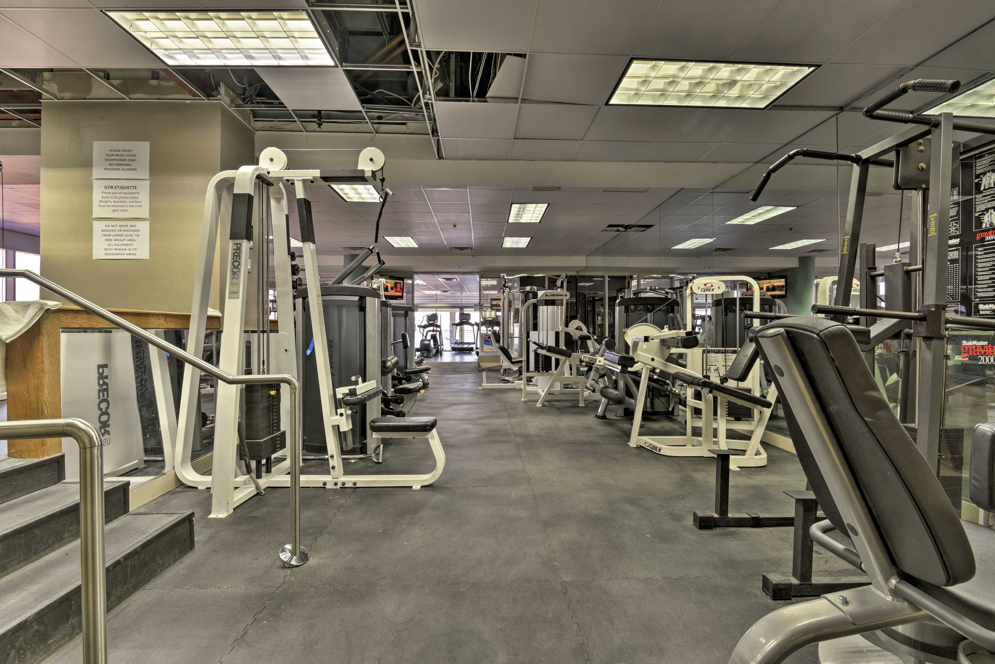 Work up a sweat in the expansive fitness center before the beach.