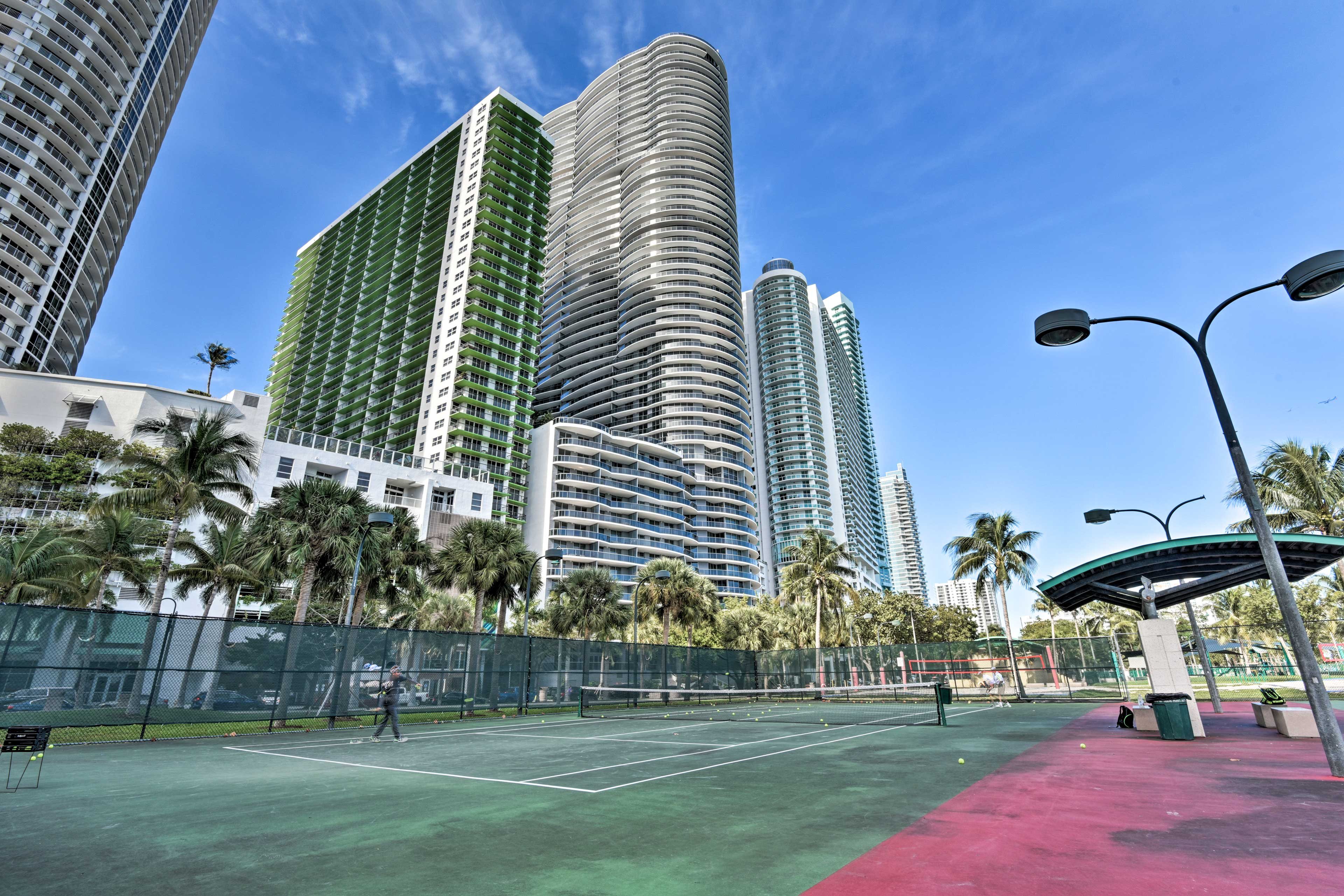 Start a game of tennis on the nearby public courts in Margaret Pace Park.
