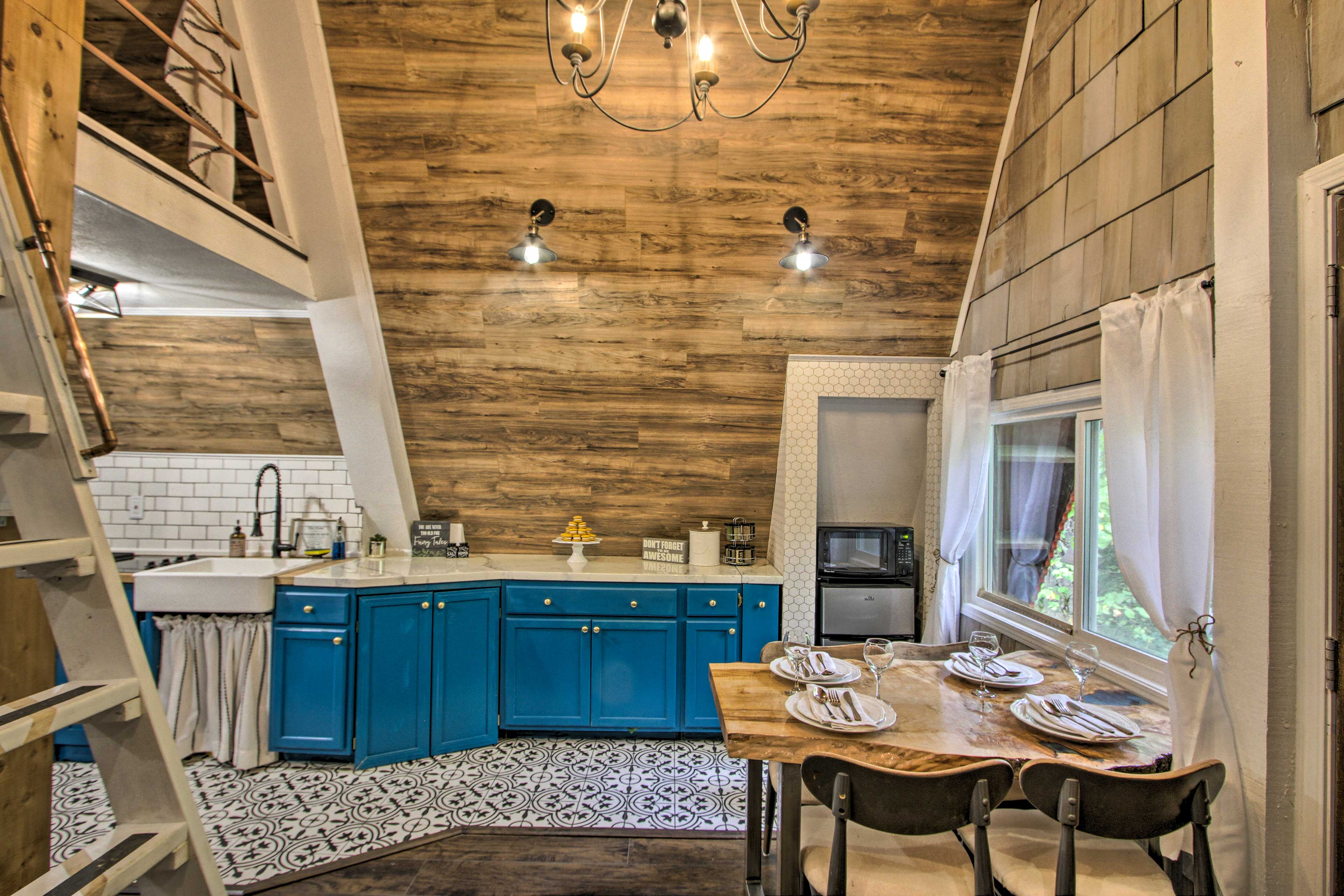 Host romantic dinner at the wood dining table.