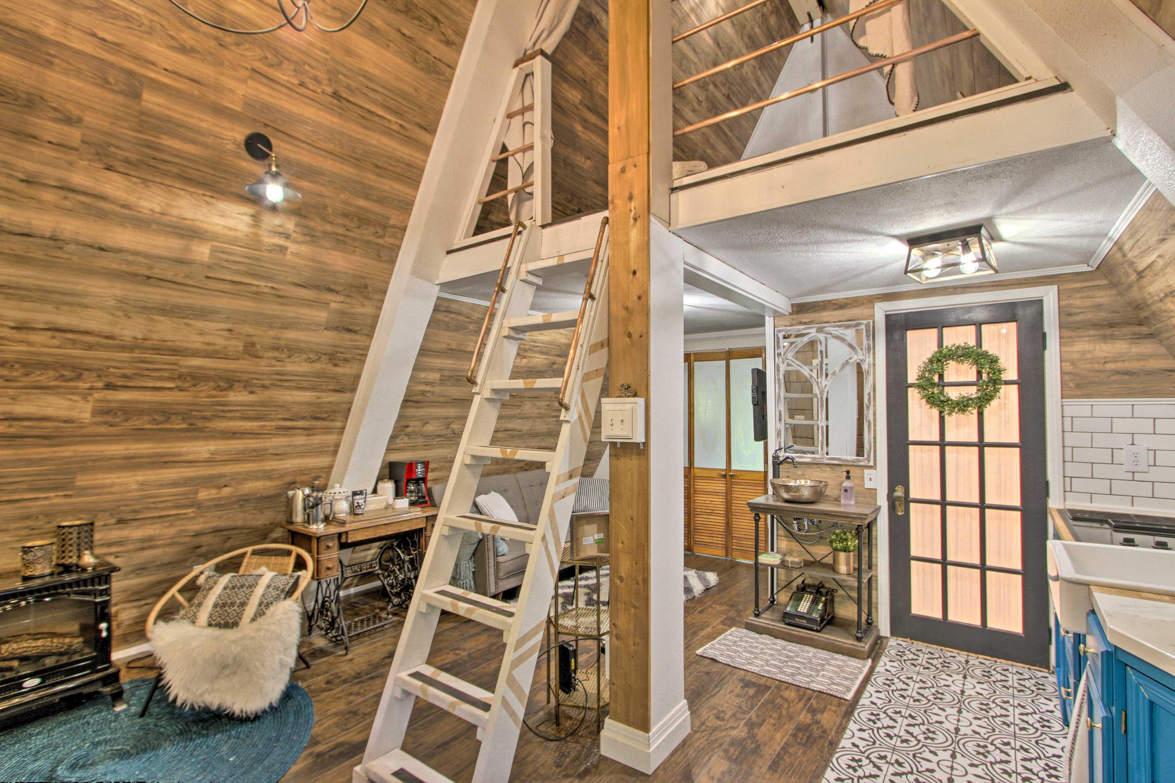 Climb the ladder to reach the loft!