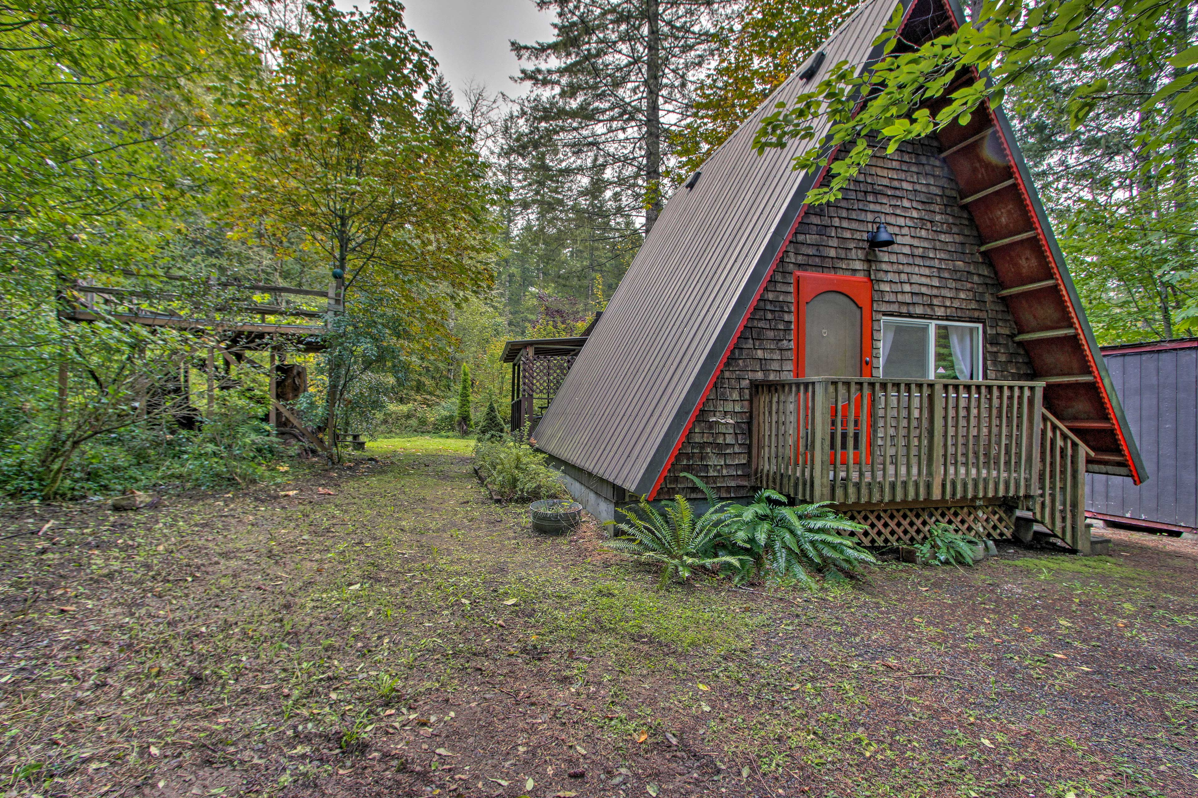 The A-frame cottage has been completely renovated.