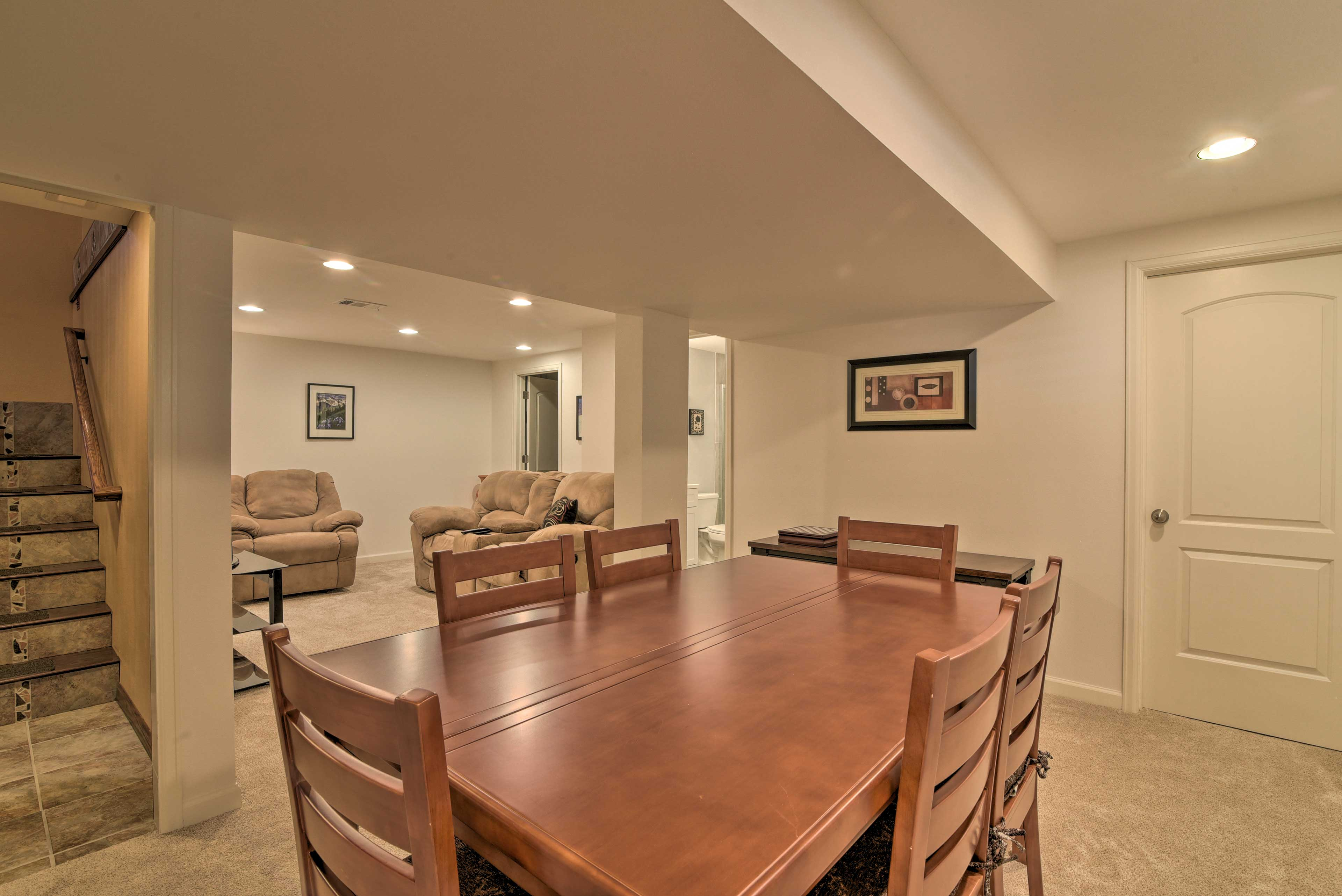 The basement is sure to be a frequent gathering space for your travel group.