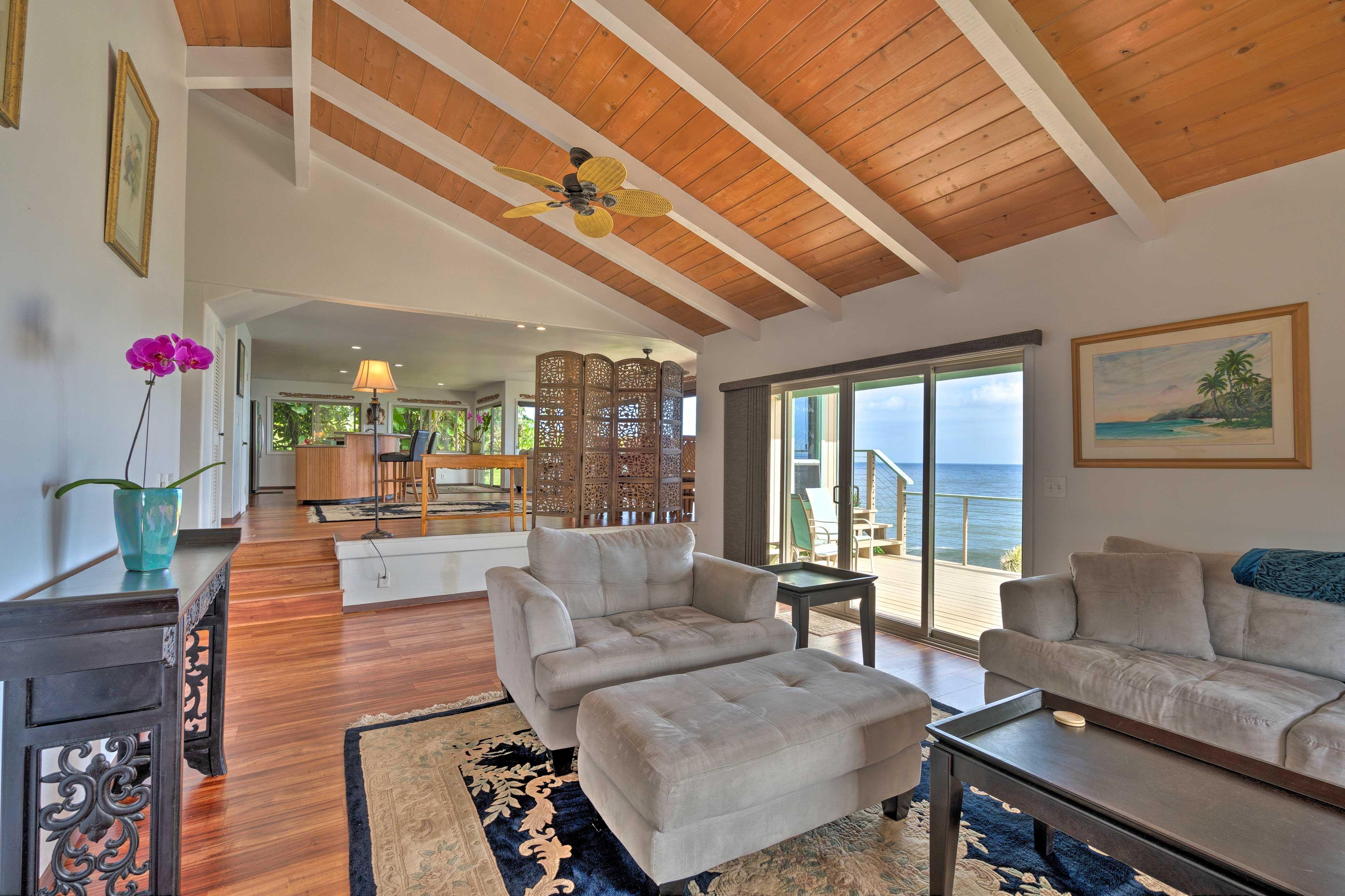 Open the sliding glass door to feel the ocean breeze flow through the space.