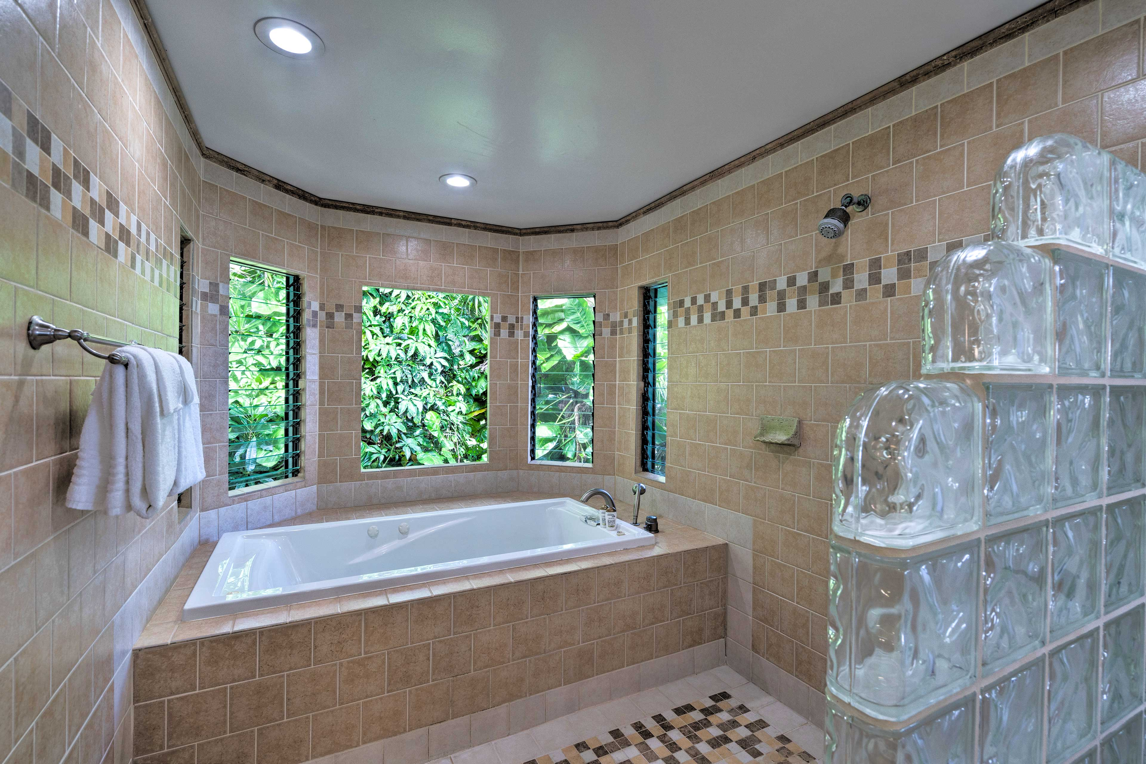 Soak in the large tub or take a quick rinse in the shower.